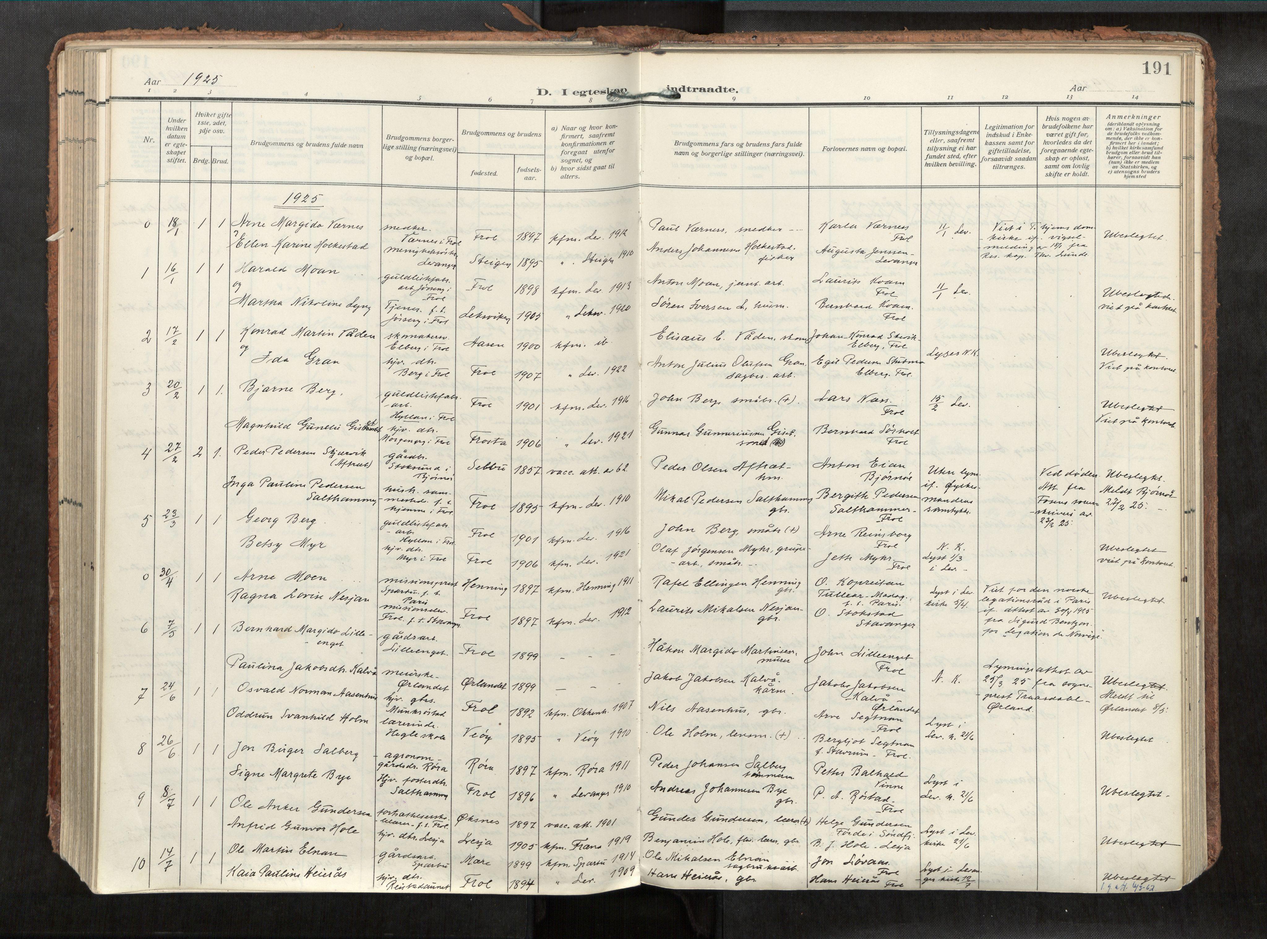 SAT, Levanger sokneprestkontor*, Parish register (official) no. 1, 1912-1935, p. 191