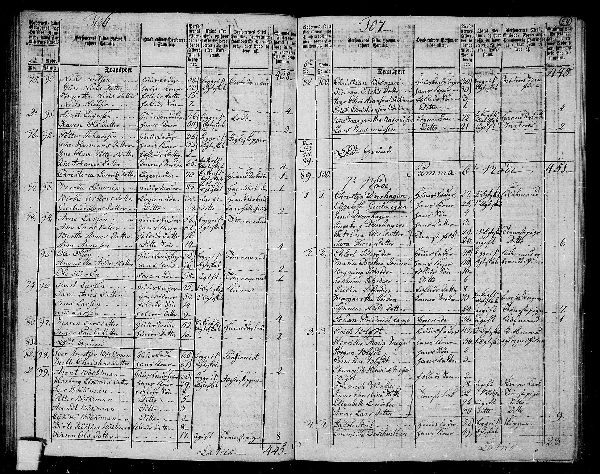 RA, 1801 census for 1301 Bergen, 1801, p. 53b-54a