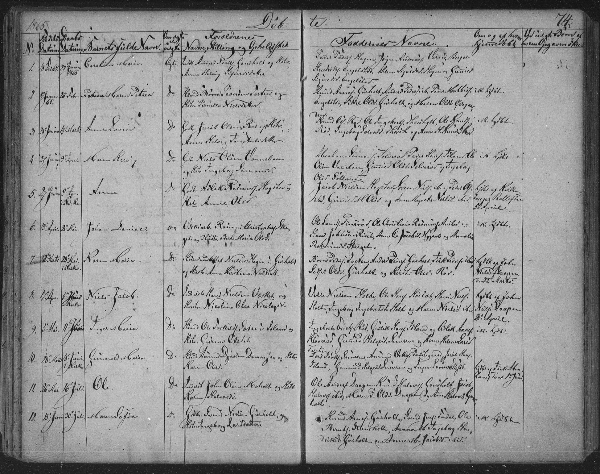 SAKO, Siljan kirkebøker, F/Fa/L0001: Parish register (official) no. 1, 1831-1870, p. 74