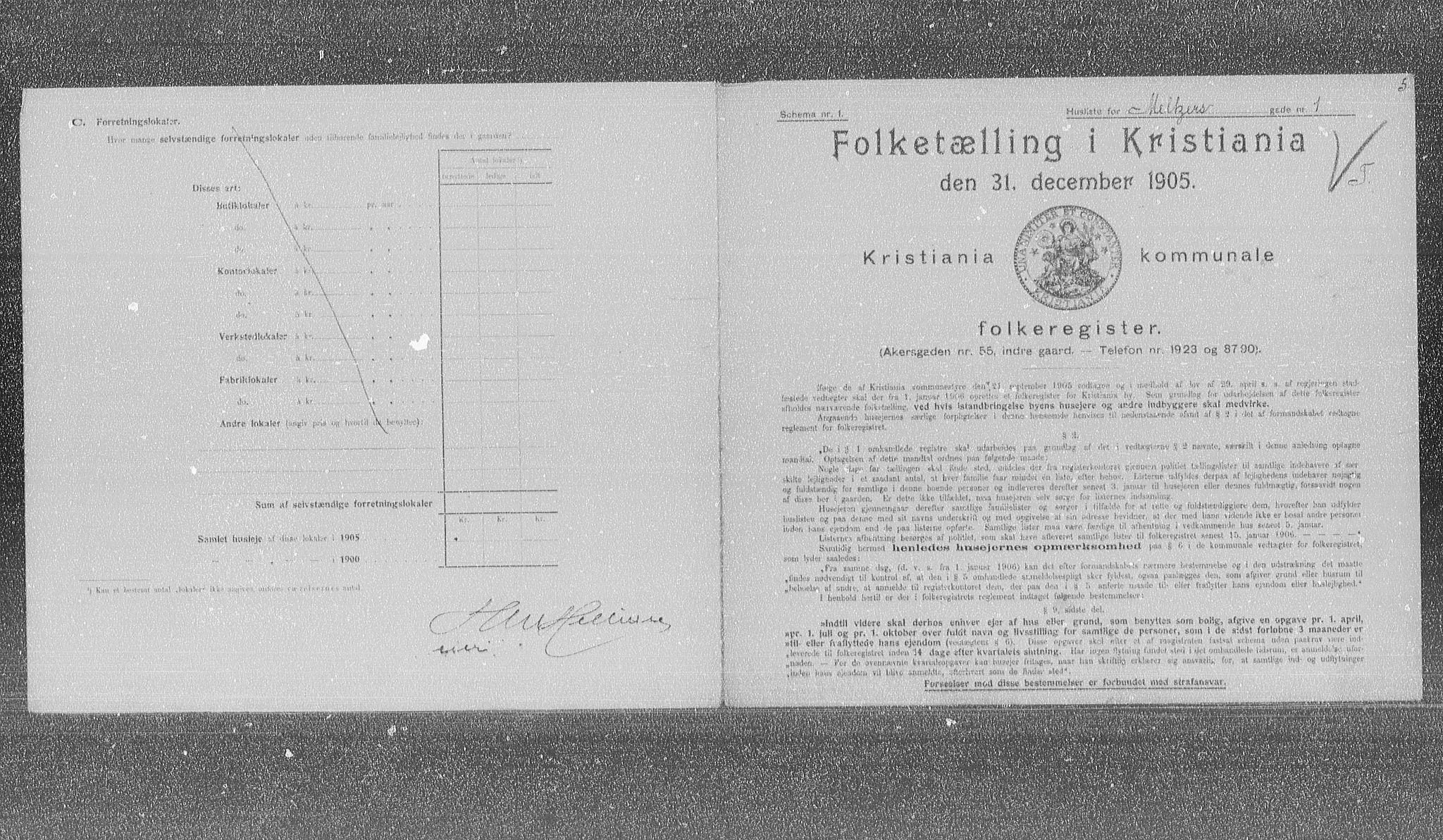 OBA, Municipal Census 1905 for Kristiania, 1905, p. 34225