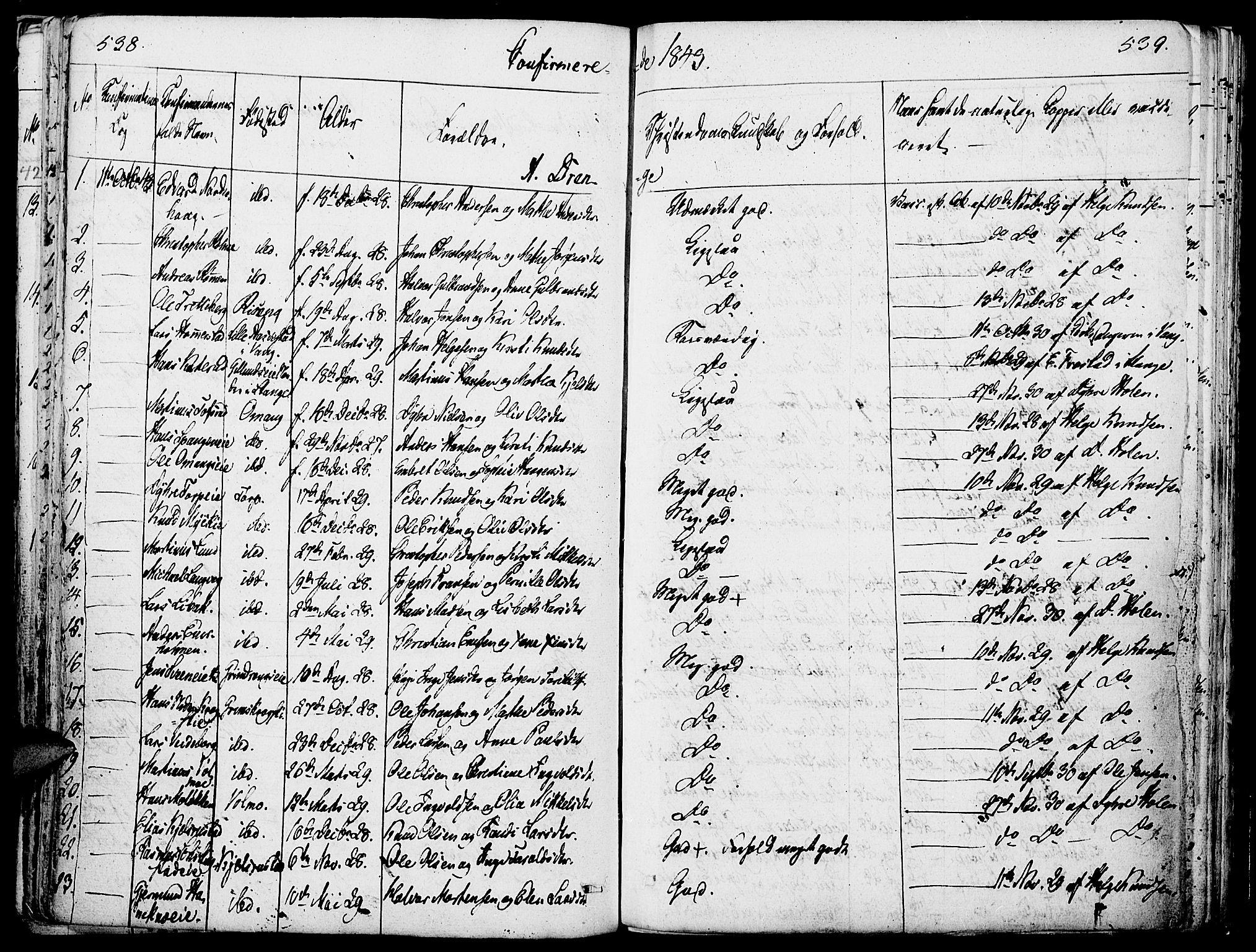SAH, Løten prestekontor, K/Ka/L0006: Parish register (official) no. 6, 1832-1849, p. 538-539