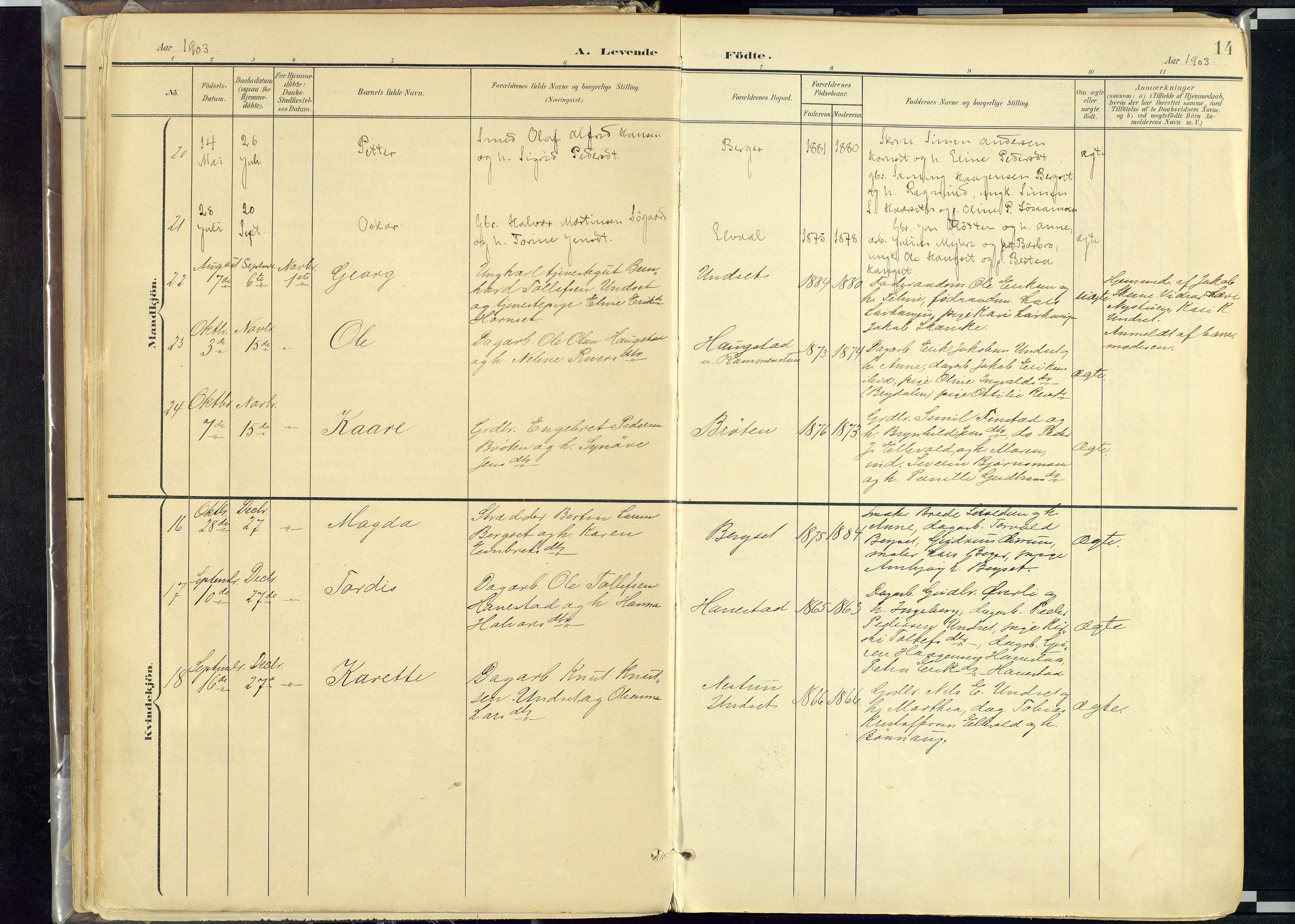 SAH, Rendalen prestekontor, H/Ha/Haa: Parish register (official) no. 12, 1901-1928, p. 14