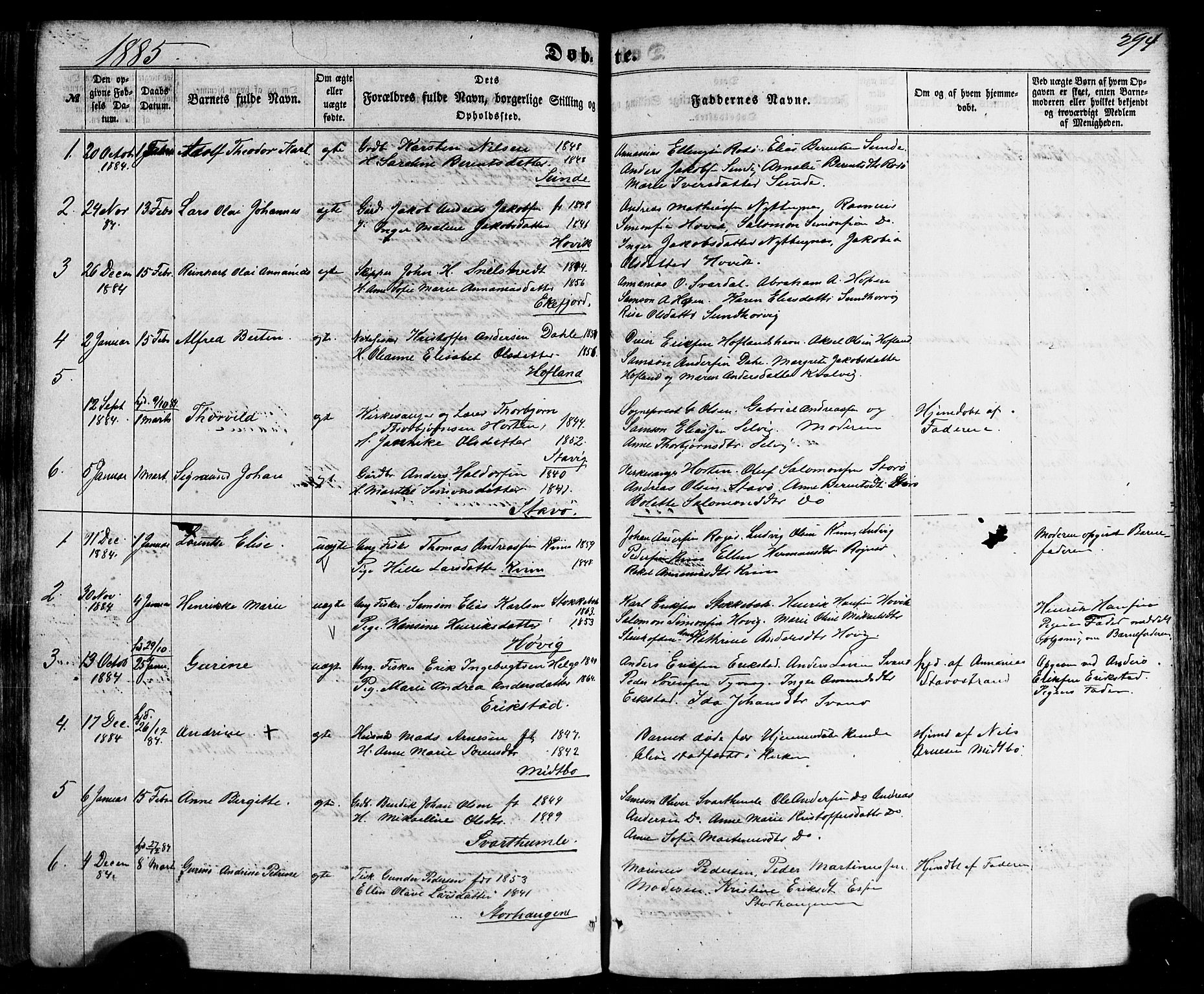 SAB, Kinn sokneprestembete, H/Haa/Haaa/L0006: Parish register (official) no. A 6, 1857-1885, p. 294