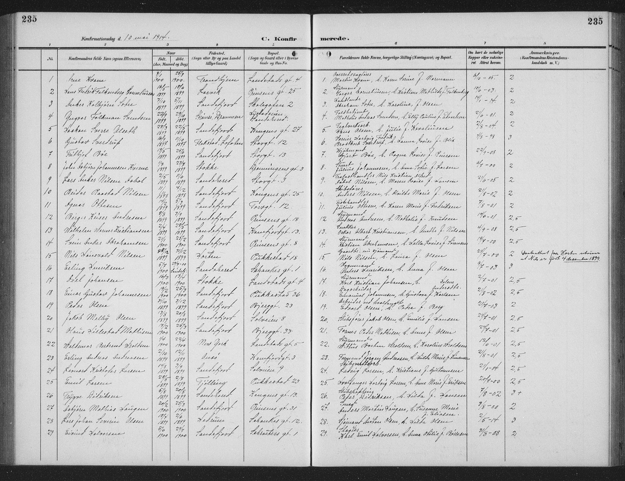 SAKO, Sandefjord kirkebøker, G/Ga/L0003: Parish register (copy) no. 3, 1903-1920, p. 235