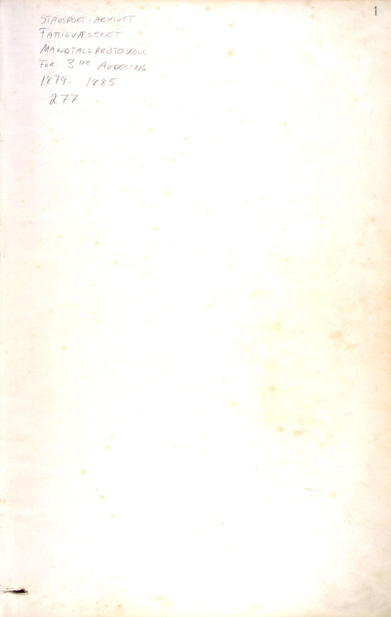 BBA, Bergen fattigvesen, 1879-1885, p. 1