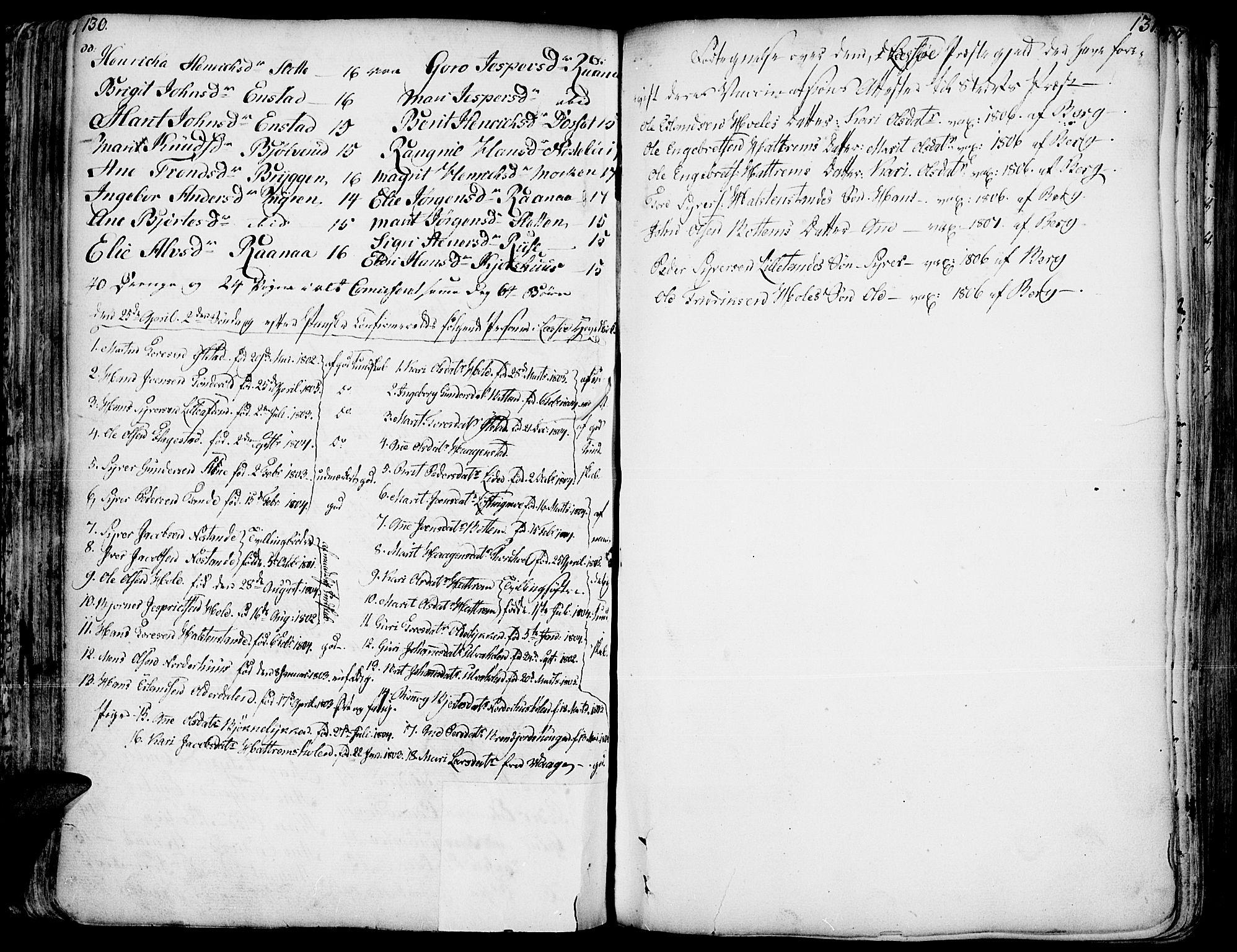 SAH, Lesja prestekontor, Parish register (official) no. 2, 1732-1776, p. 130-131