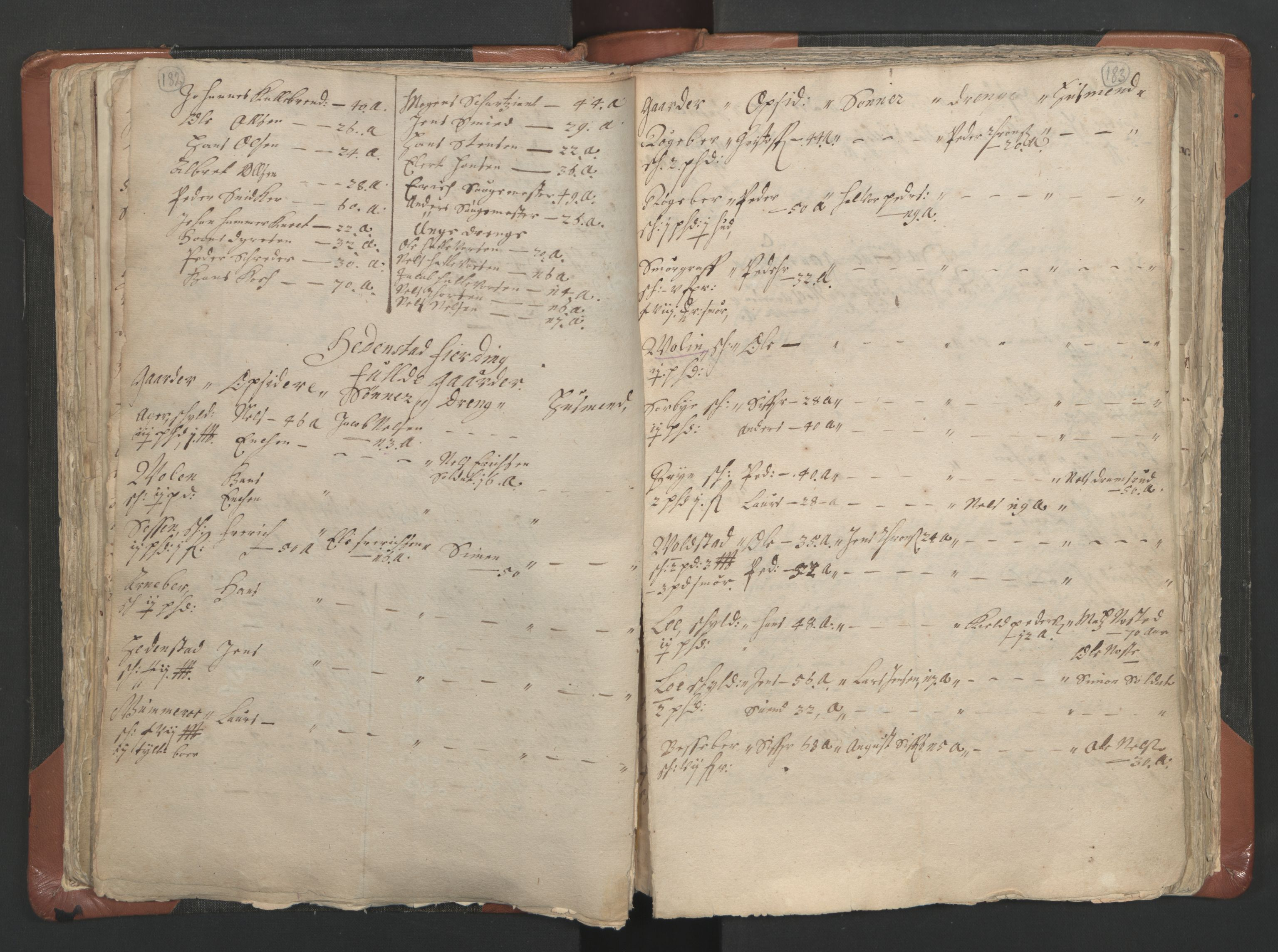 RA, Vicar's Census 1664-1666, no. 9: Bragernes deanery, 1664-1666, p. 182-183