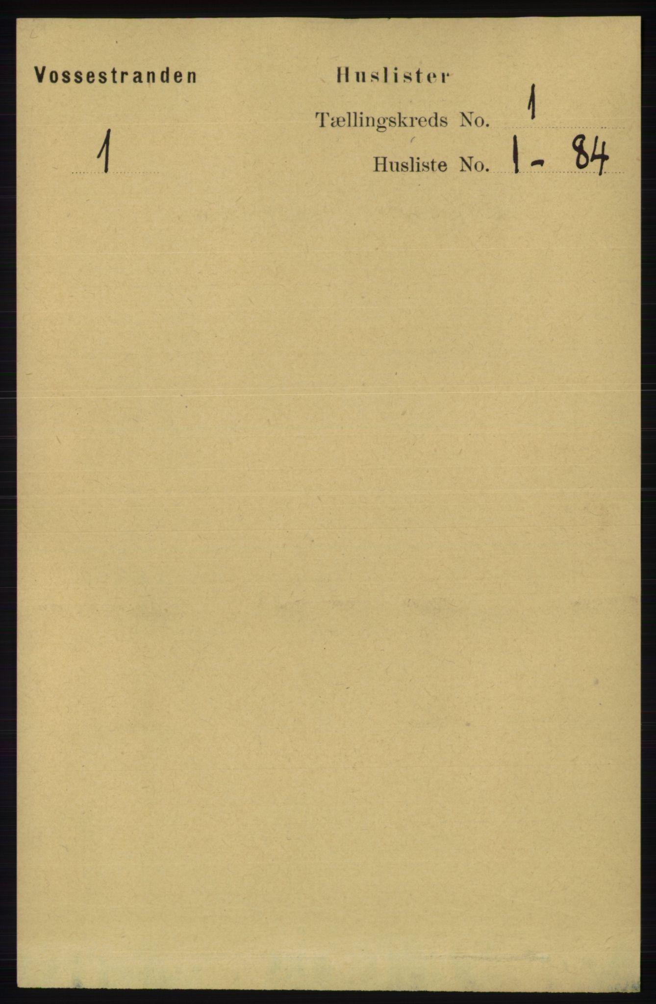 RA, 1891 census for 1236 Vossestrand, 1891, p. 19