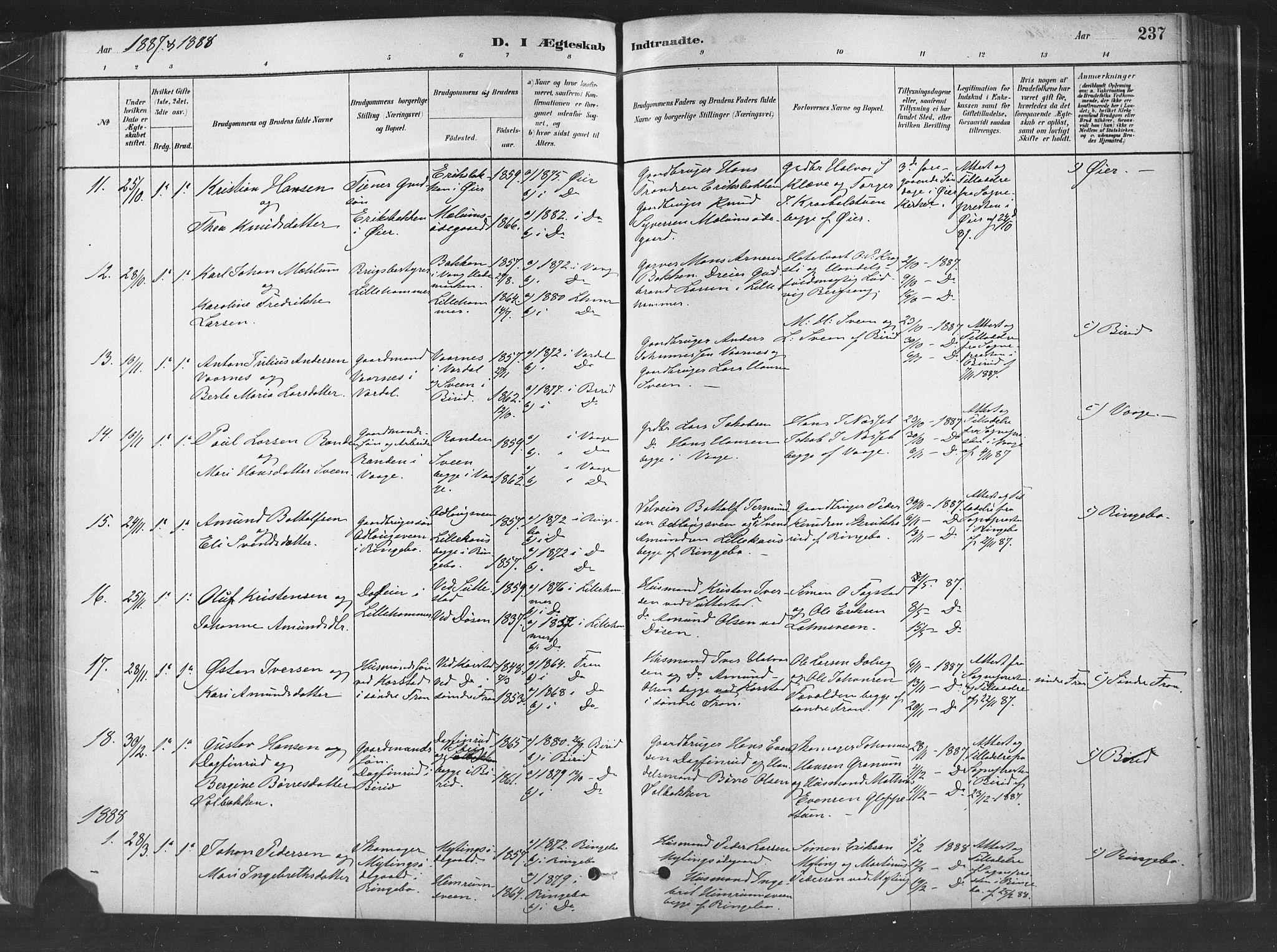 SAH, Fåberg prestekontor, H/Ha/Haa/L0010: Parish register (official) no. 10, 1879-1900, p. 237