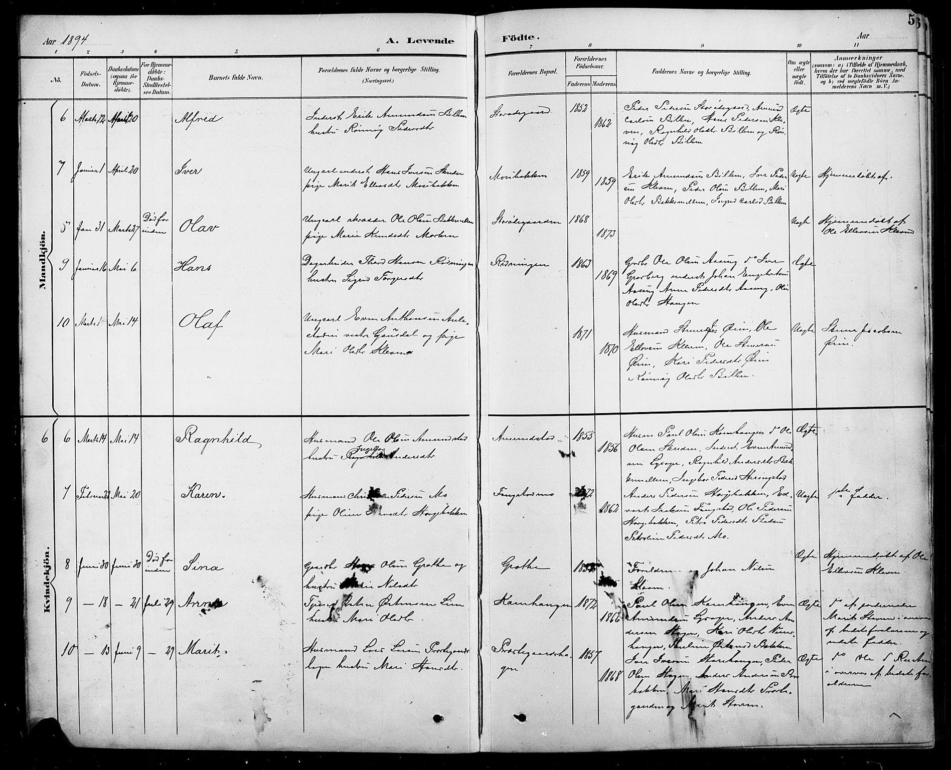 SAH, Sel prestekontor, Parish register (copy) no. 5, 1894-1923, p. 5