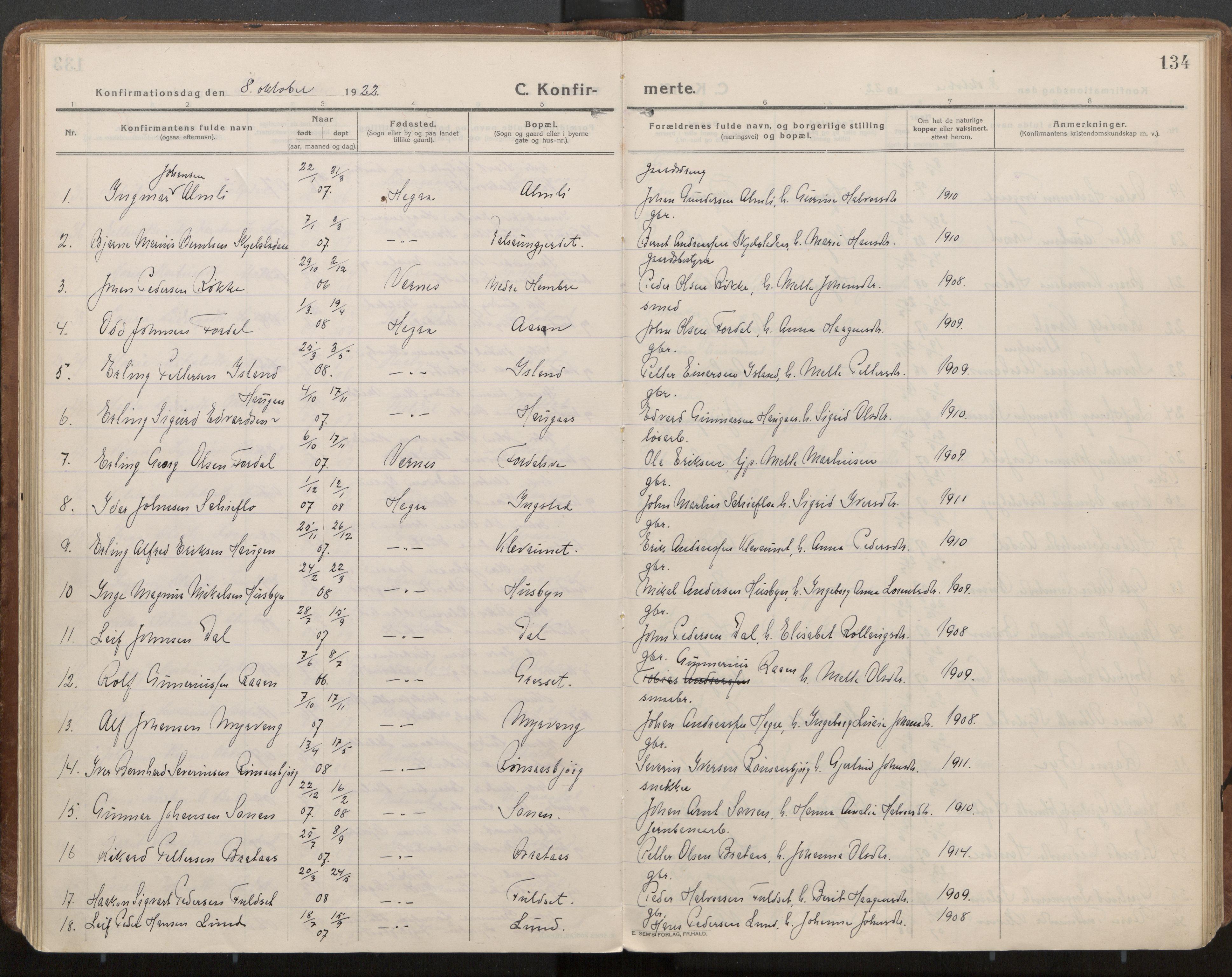 SAT, Ministerialprotokoller, klokkerbøker og fødselsregistre - Nord-Trøndelag, 703/L0037: Parish register (official) no. 703A10, 1915-1932, p. 134