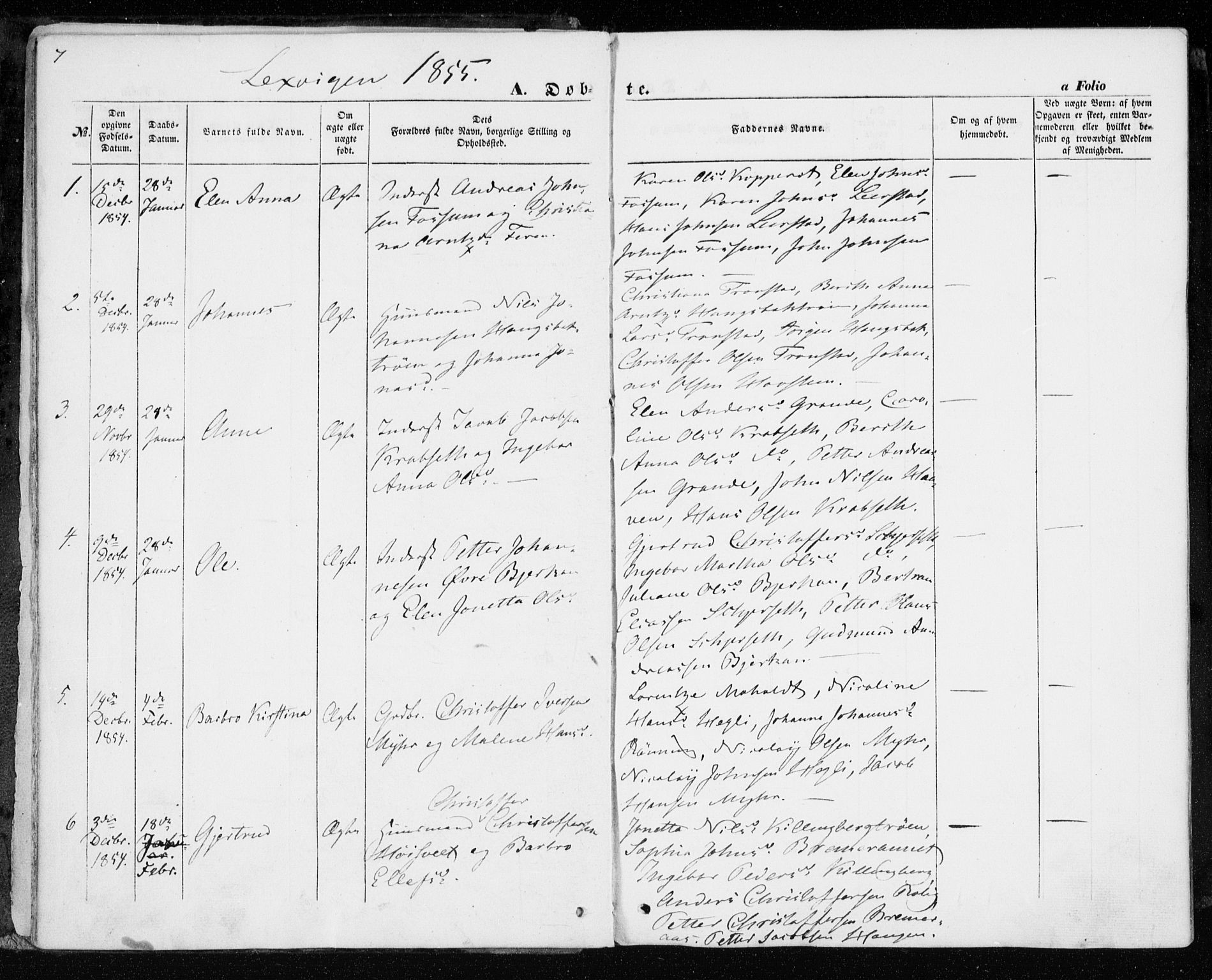 SAT, Ministerialprotokoller, klokkerbøker og fødselsregistre - Nord-Trøndelag, 701/L0008: Parish register (official) no. 701A08 /1, 1854-1863, p. 7