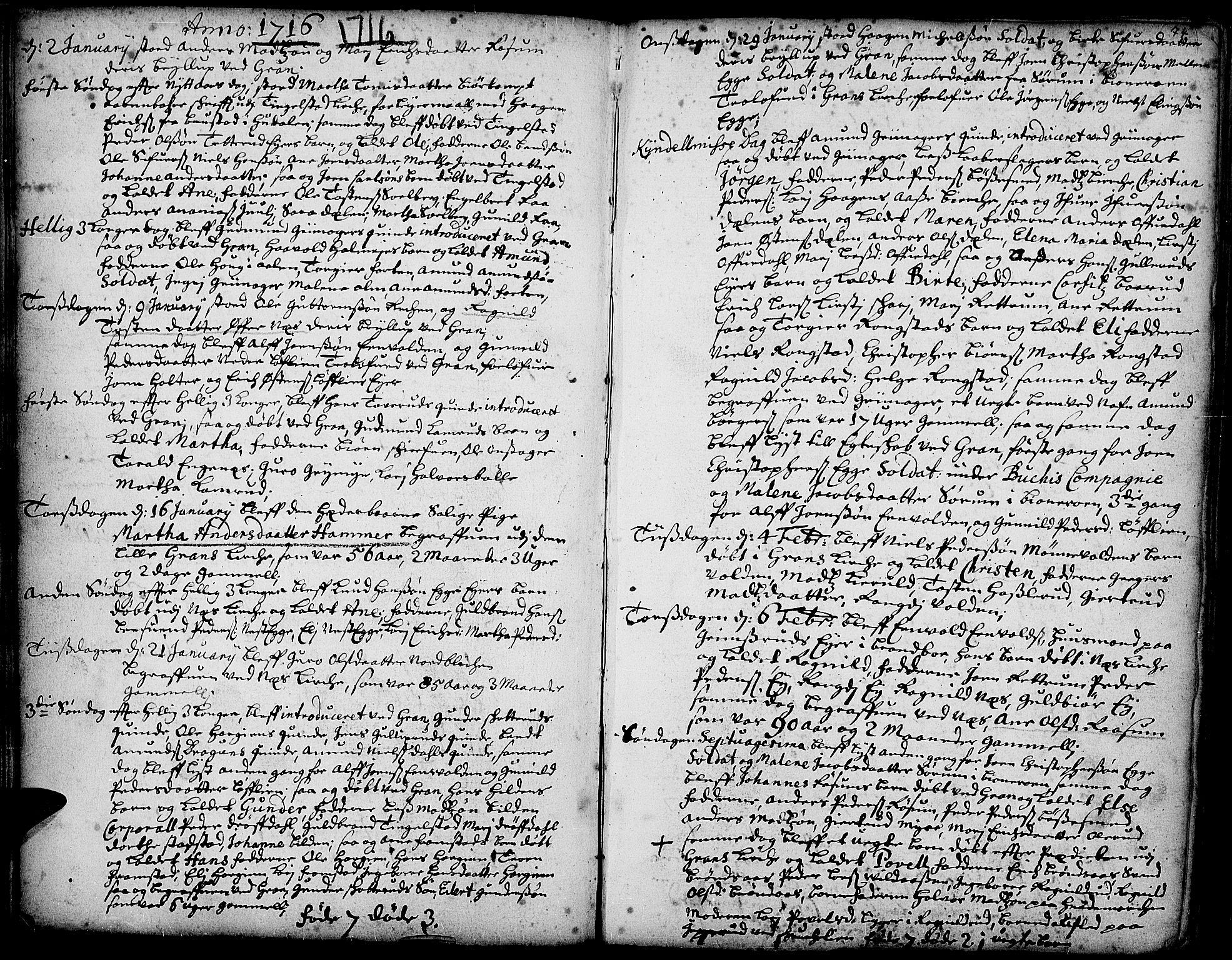 SAH, Gran prestekontor, Parish register (official) no. 1, 1707-1731, p. 74