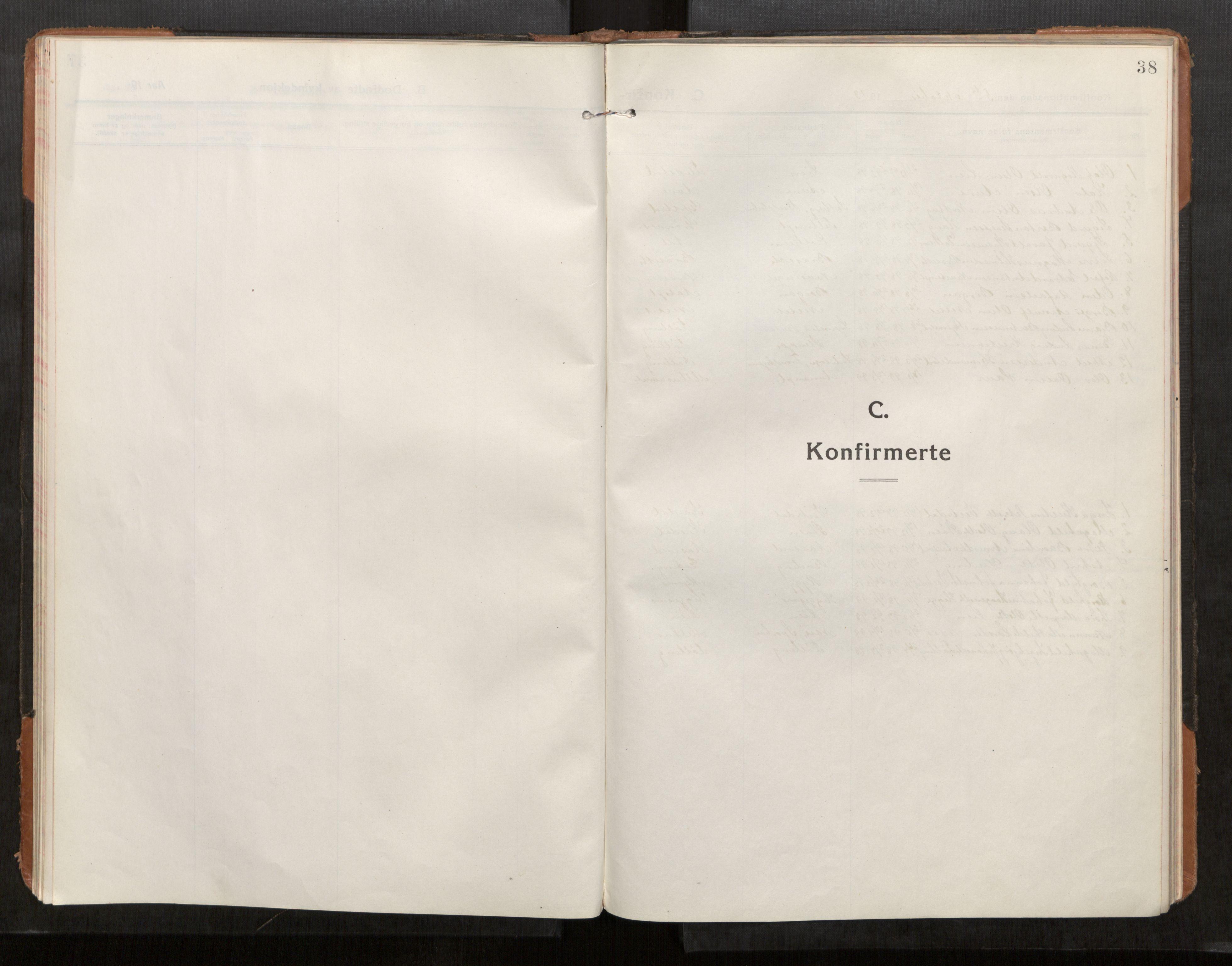 SAT, Stod sokneprestkontor, I/I1/I1a/L0004: Parish register (official) no. 4, 1913-1933, p. 38