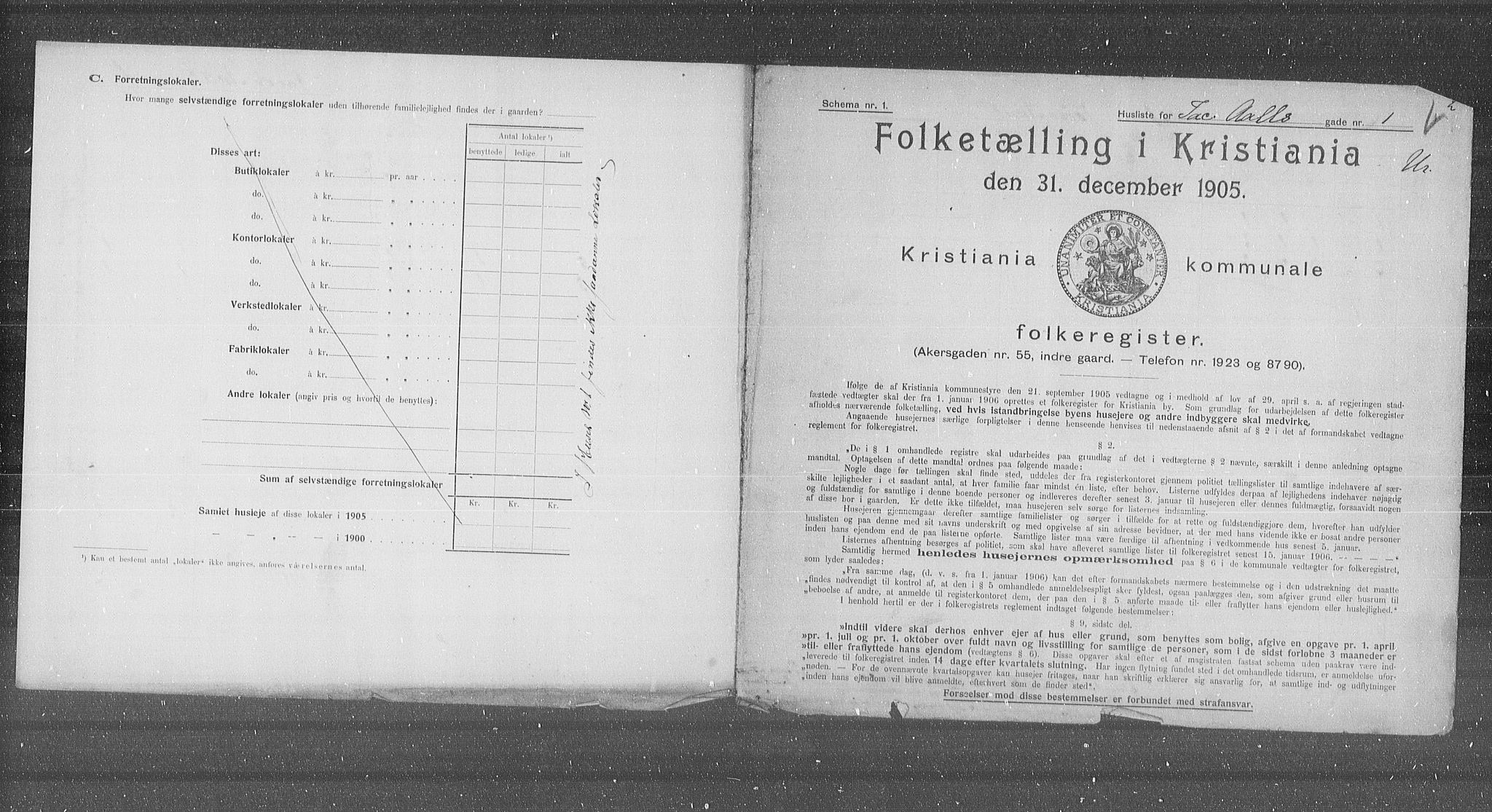 OBA, Municipal Census 1905 for Kristiania, 1905, p. 23564