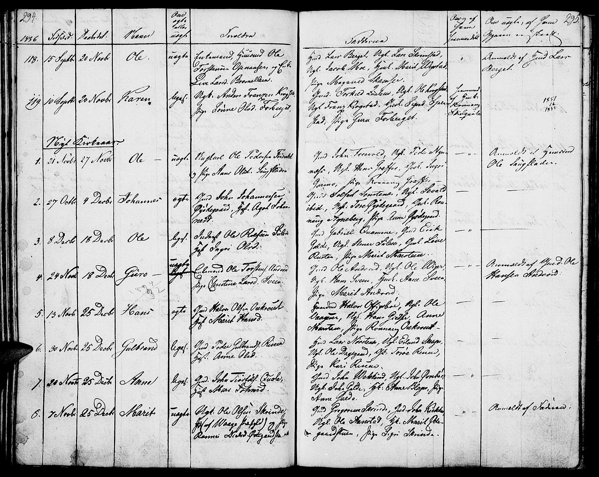 SAH, Lom prestekontor, K/L0005: Parish register (official) no. 5, 1825-1837, p. 294-295