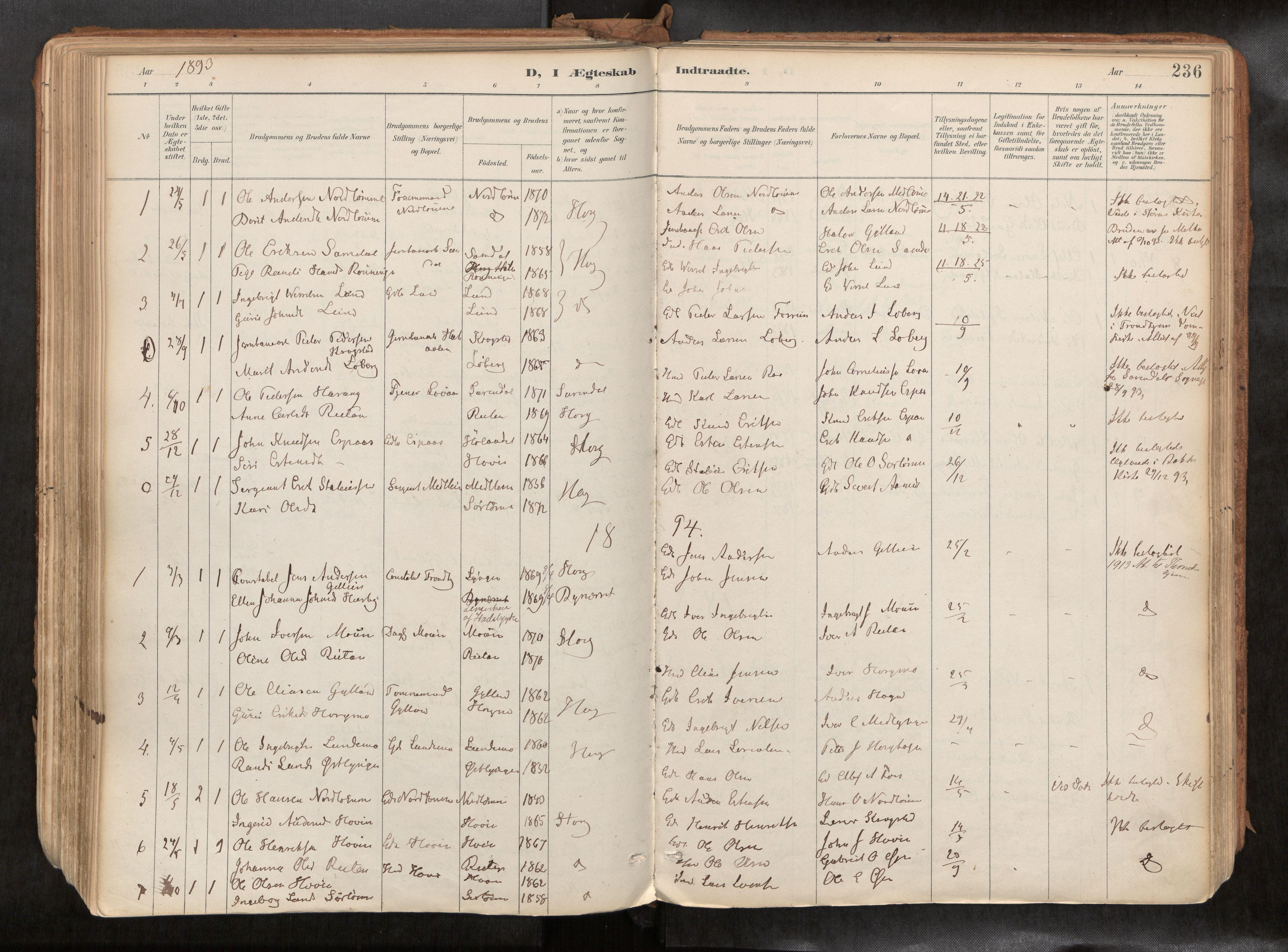 SAT, Ministerialprotokoller, klokkerbøker og fødselsregistre - Sør-Trøndelag, 692/L1105b: Parish register (official) no. 692A06, 1891-1934, p. 236