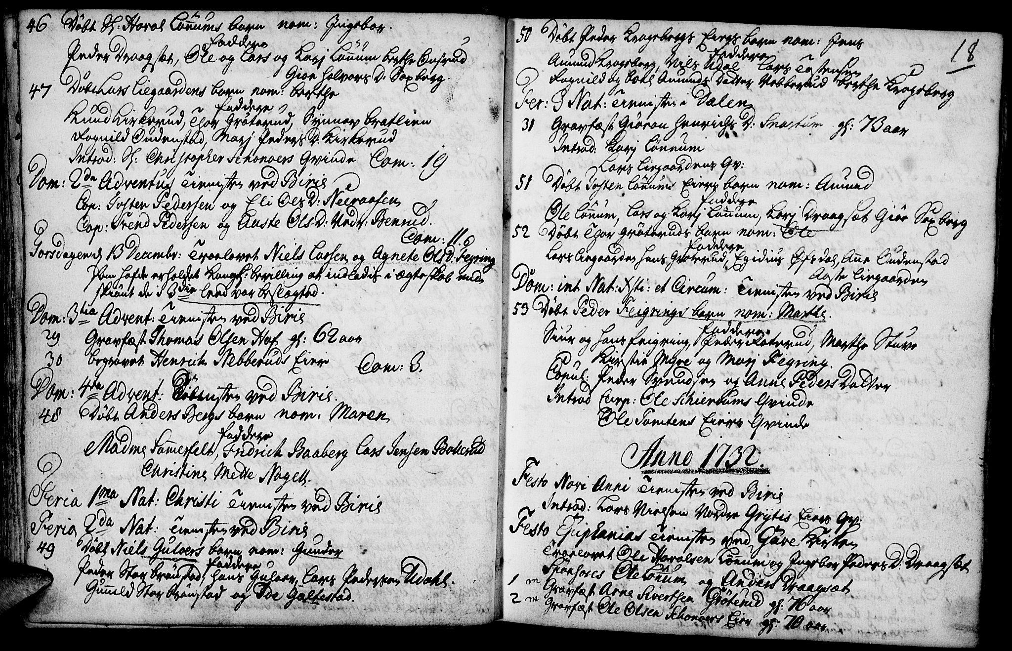 SAH, Biri prestekontor, Parish register (official) no. 1, 1730-1754, p. 18
