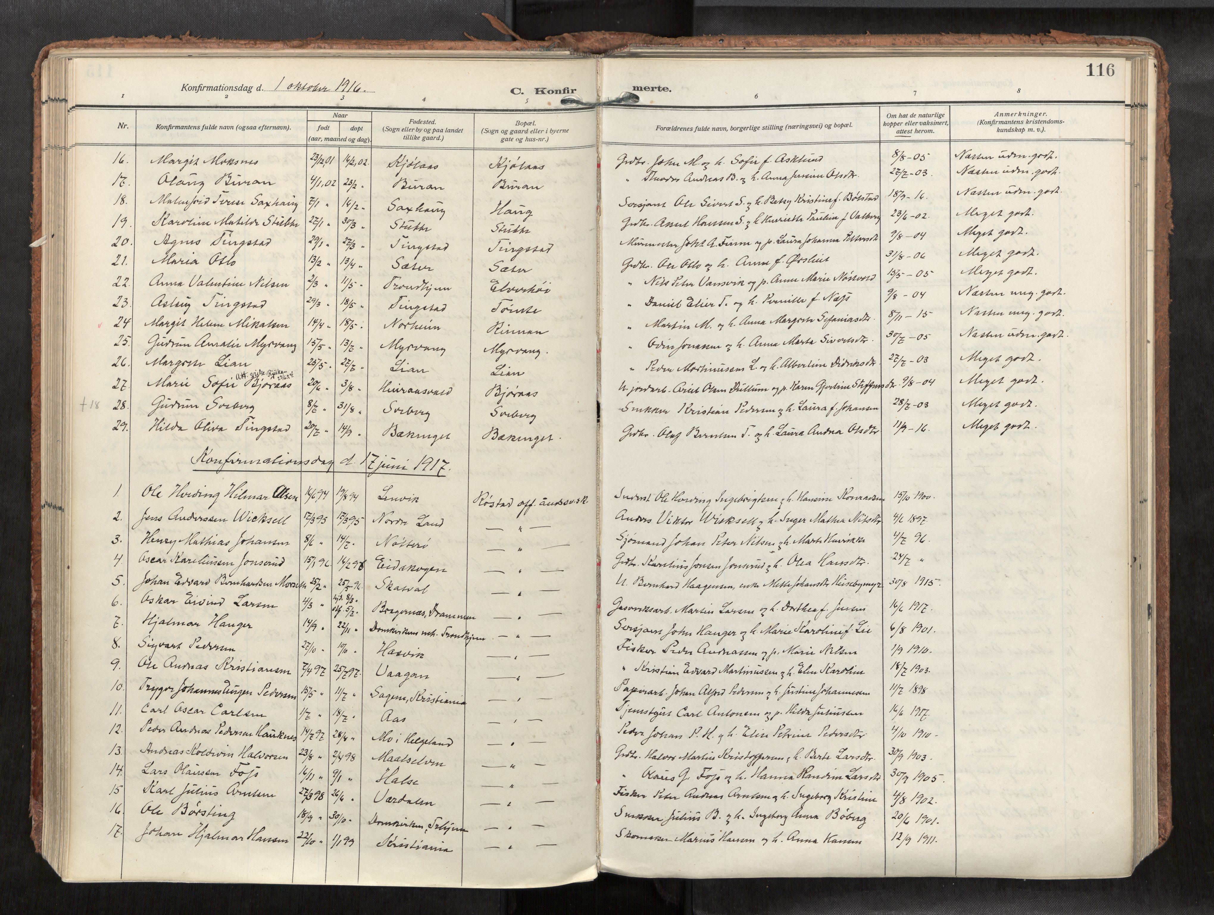 SAT, Levanger sokneprestkontor*, Parish register (official) no. 1, 1912-1935, p. 116