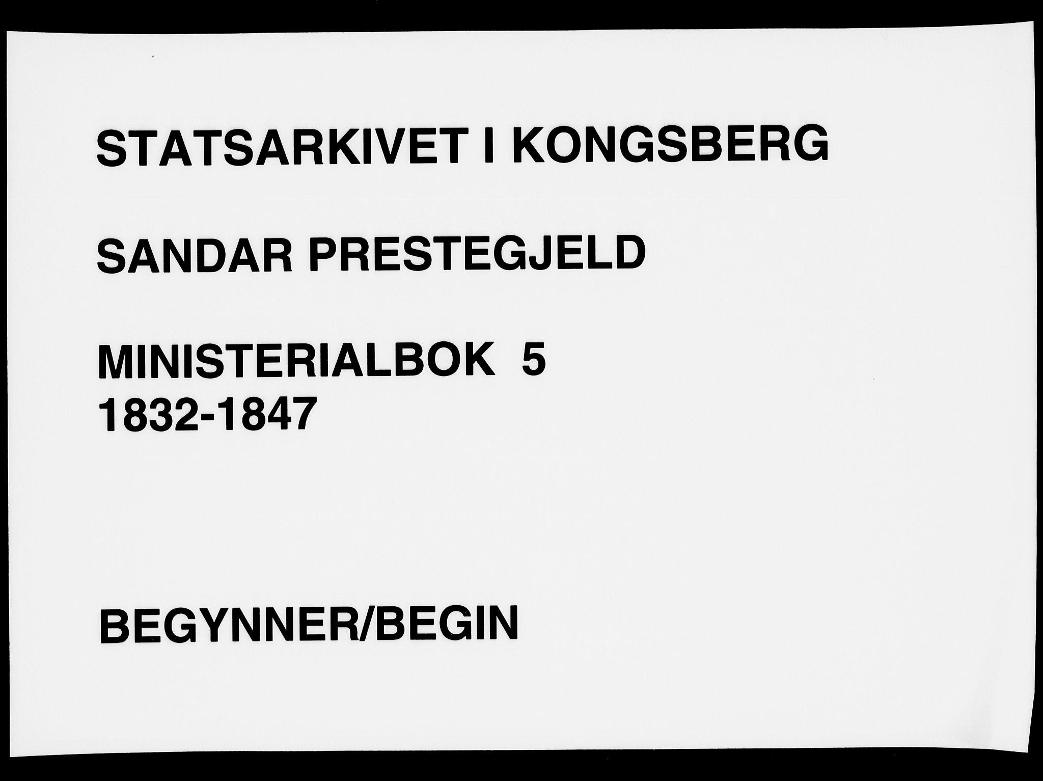 SAKO, Sandar kirkebøker, F/Fa/L0005: Parish register (official) no. 5, 1832-1847