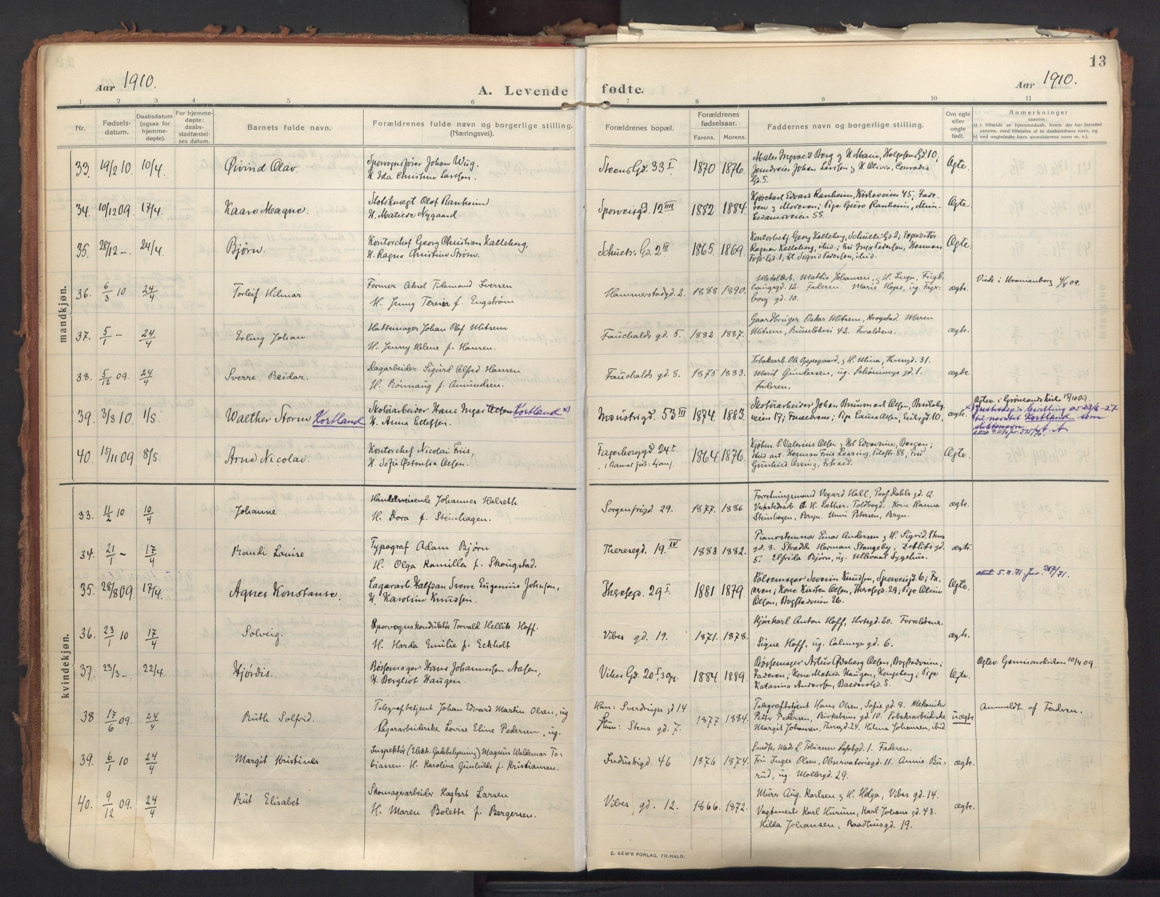 SAO, Fagerborg prestekontor Kirkebøker, Parish register (official) no. 5, 1909-1935, p. 13