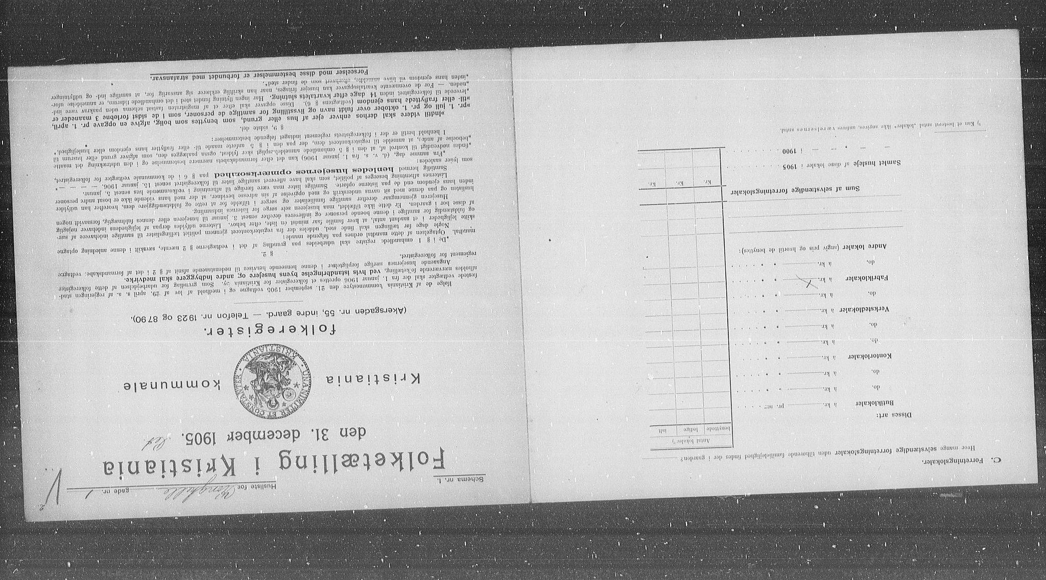 OBA, Municipal Census 1905 for Kristiania, 1905, p. 27758