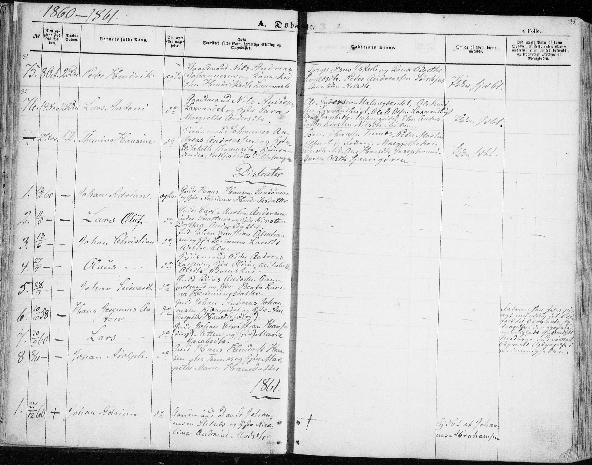 SATØ, Balsfjord sokneprestembete, Parish register (official) no. 3, 1856-1870, p. 35