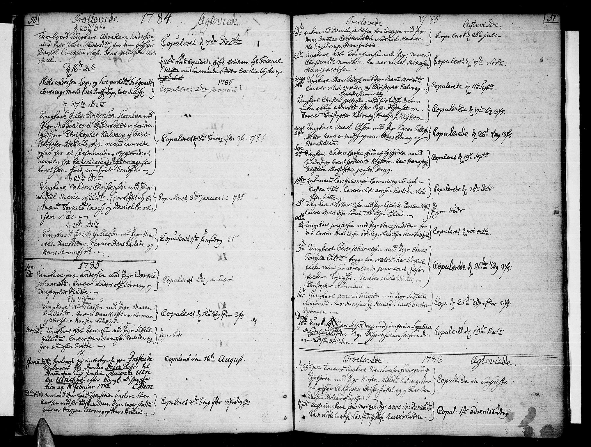 SAT, Ministerialprotokoller, klokkerbøker og fødselsregistre - Nordland, 859/L0841: Parish register (official) no. 859A01, 1766-1821, p. 50-51