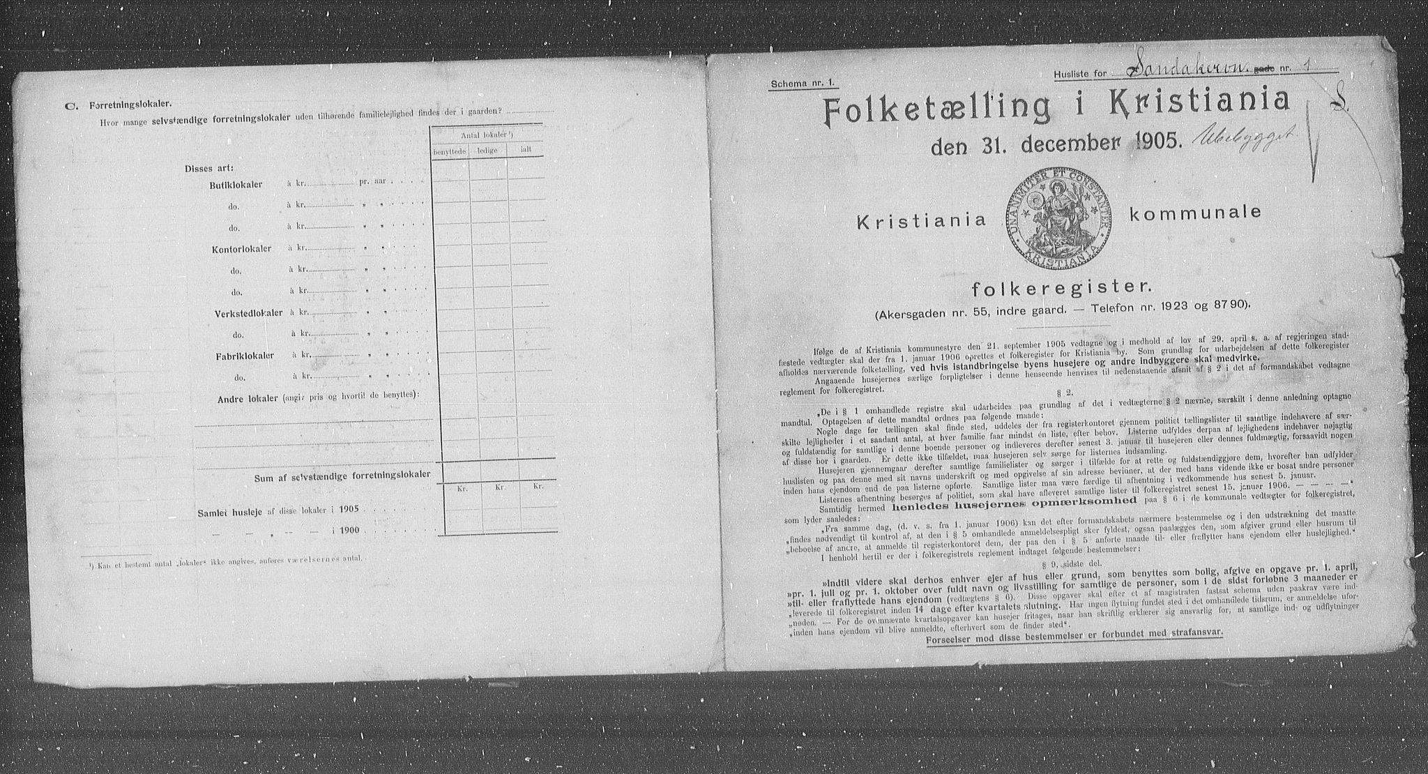 OBA, Municipal Census 1905 for Kristiania, 1905, p. 45573