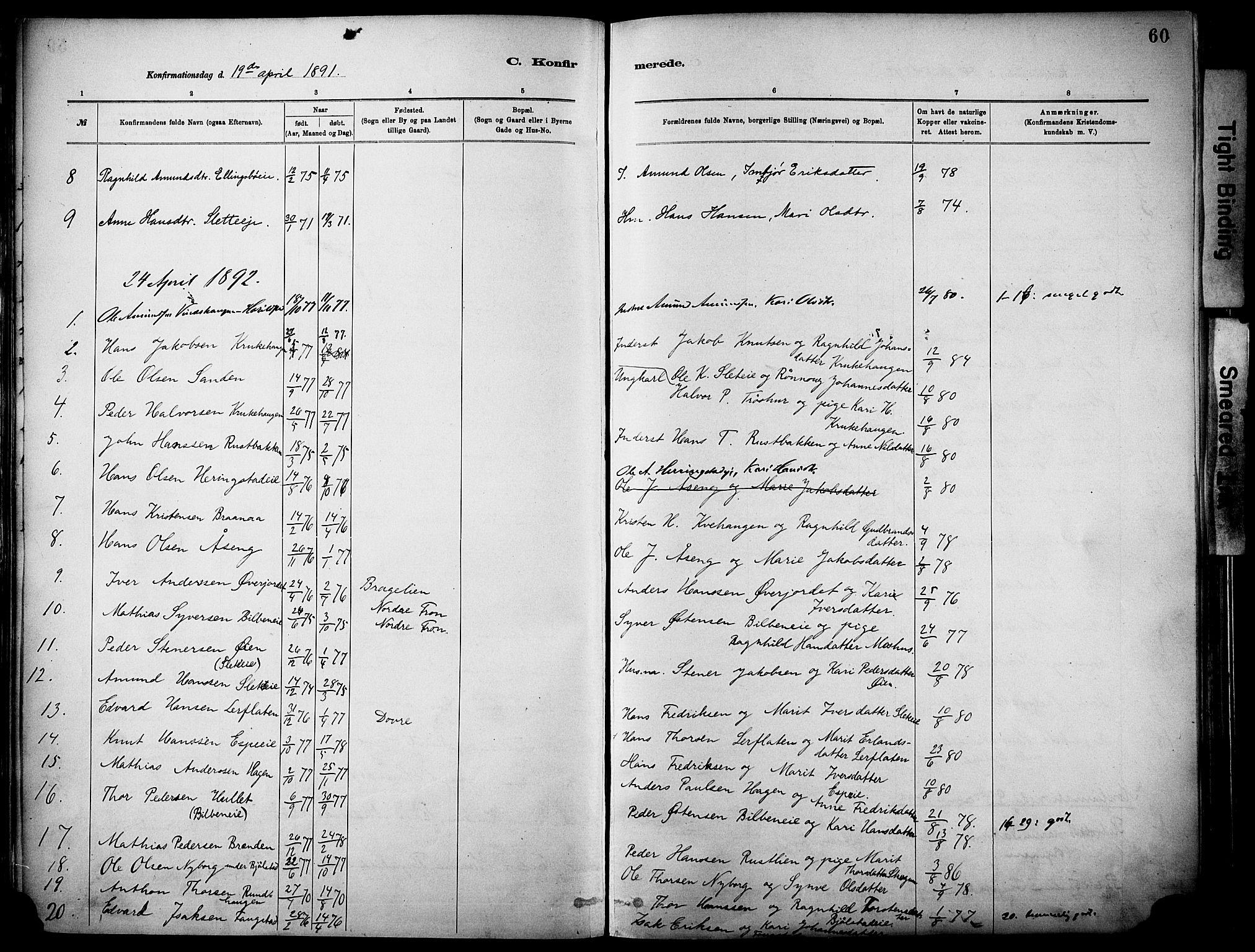 SAH, Vågå prestekontor, Parish register (official) no. 10, 1887-1904, p. 60