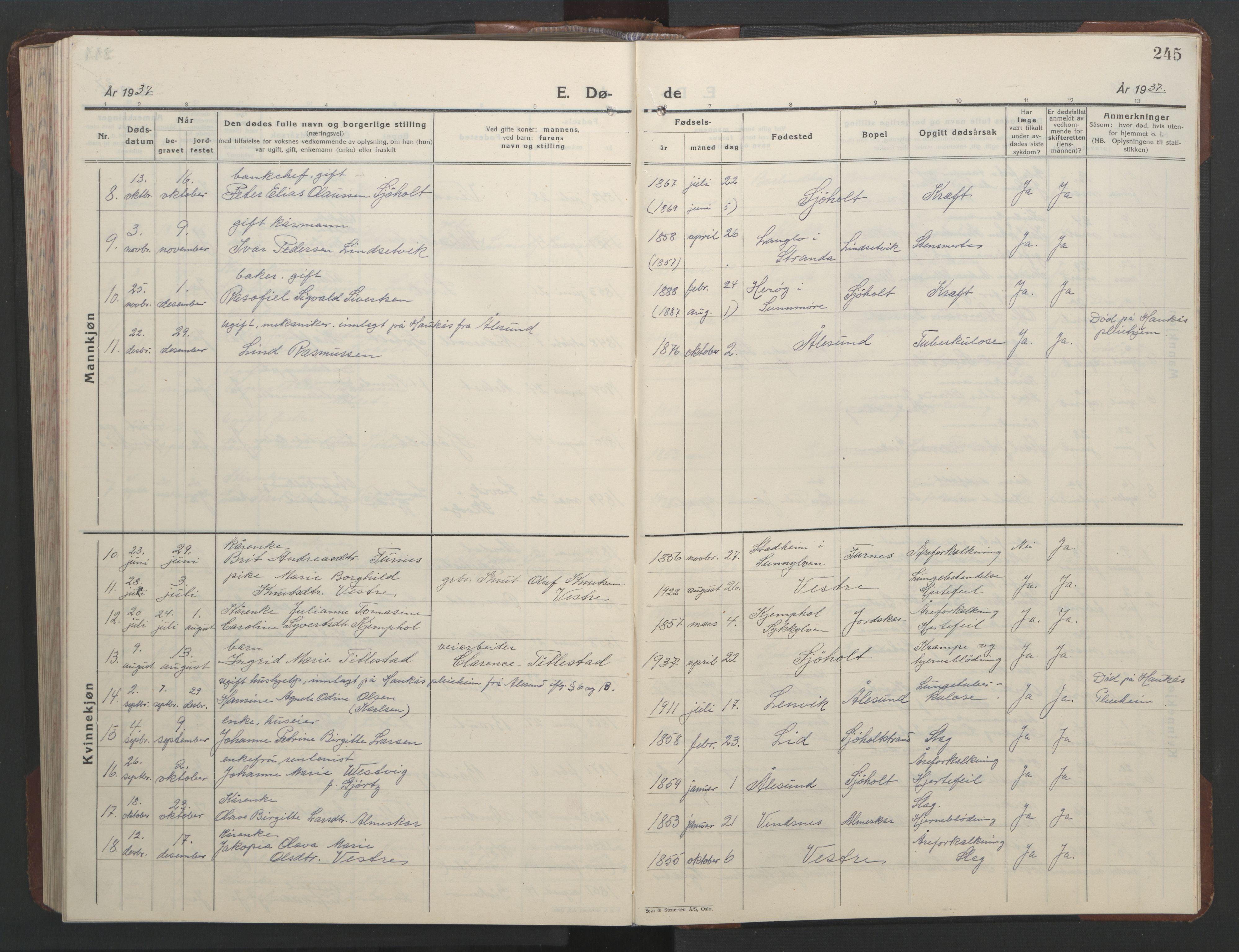 SAT, Ministerialprotokoller, klokkerbøker og fødselsregistre - Møre og Romsdal, 522/L0329: Parish register (copy) no. 522C08, 1926-1951, p. 245