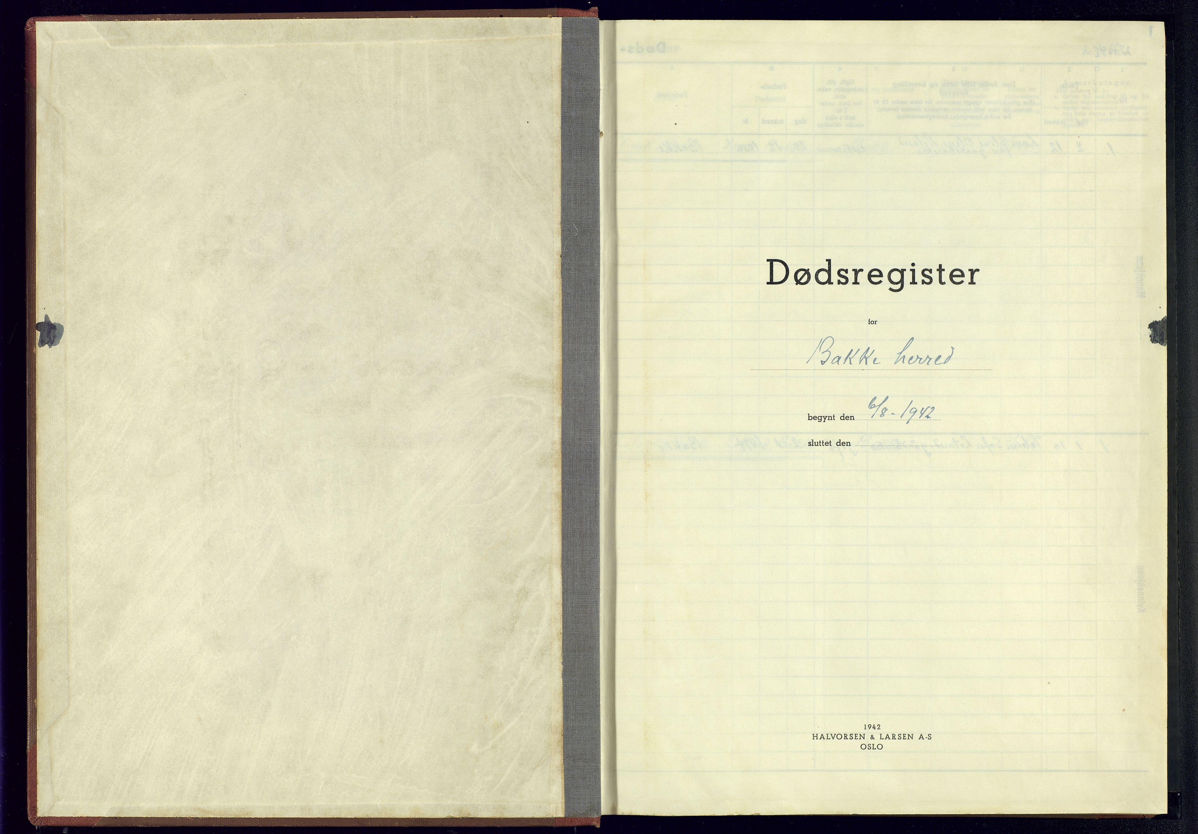 SAK, Bakke sokneprestkontor, J/Jb/L0006: A-VI-17 - Dødsfallsregister Bakke, 1942-1945