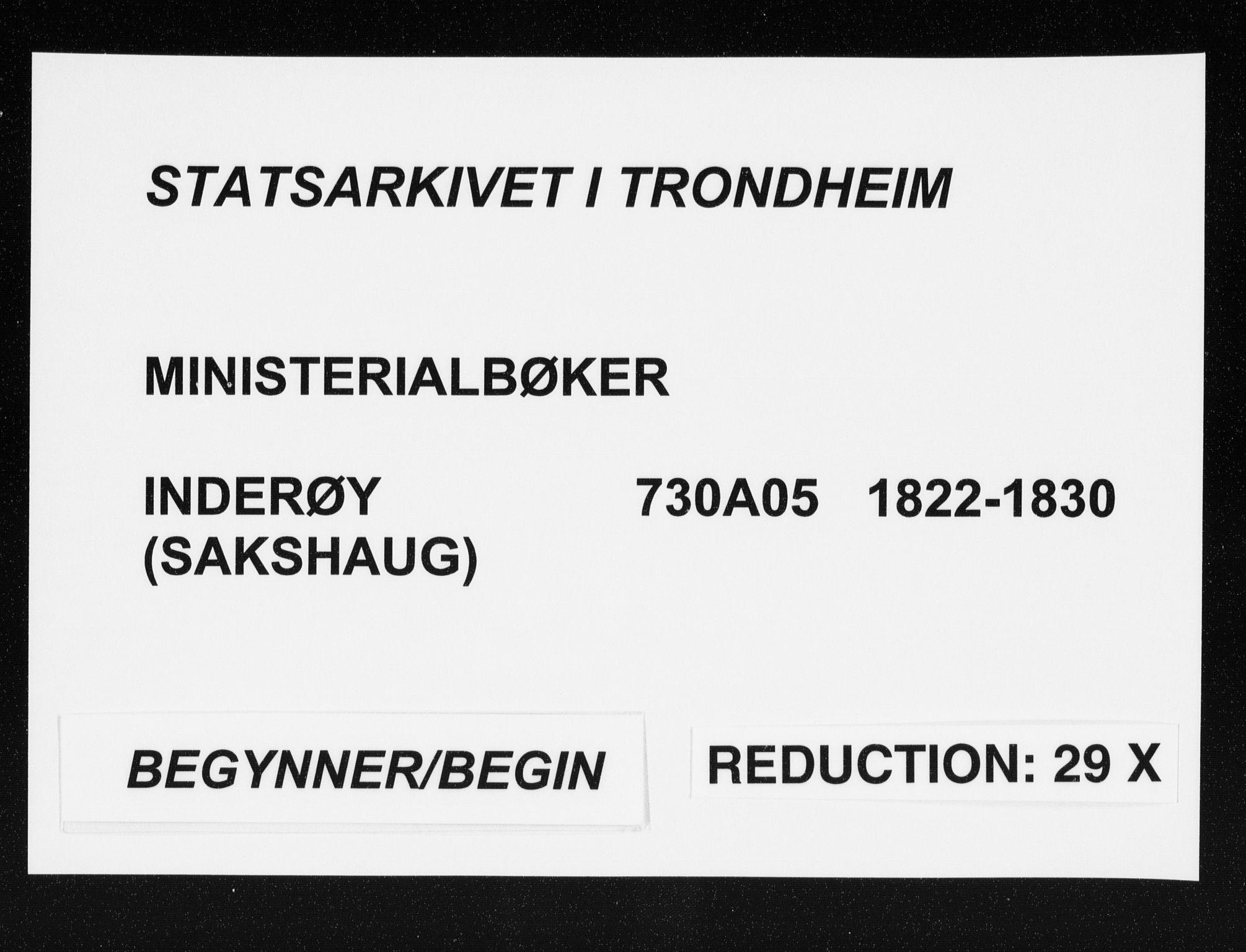 SAT, Ministerialprotokoller, klokkerbøker og fødselsregistre - Nord-Trøndelag, 730/L0276: Parish register (official) no. 730A05, 1822-1830