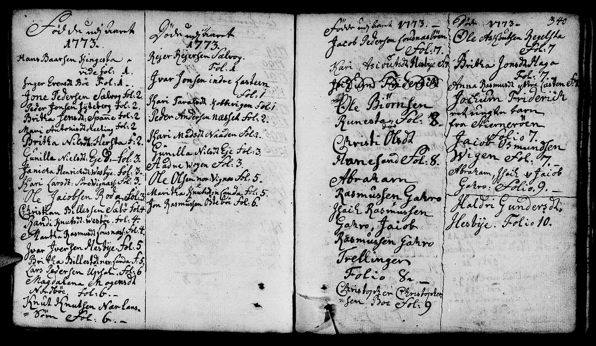 SAST, Finnøy sokneprestkontor, H/Ha/Haa/L0005: Parish register (official) no. A 5, 1773-1816, p. 340