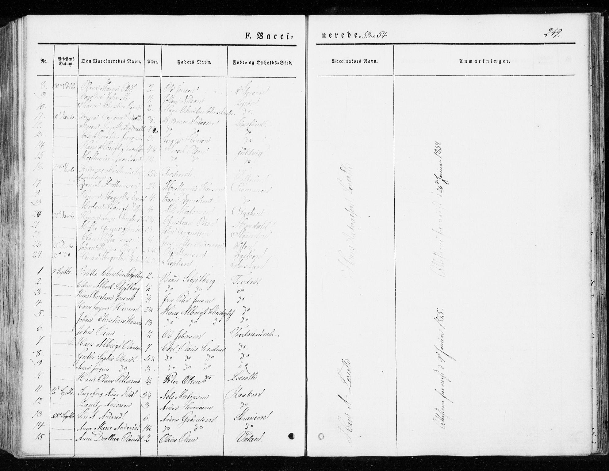SAT, Ministerialprotokoller, klokkerbøker og fødselsregistre - Sør-Trøndelag, 655/L0677: Parish register (official) no. 655A06, 1847-1860, p. 249