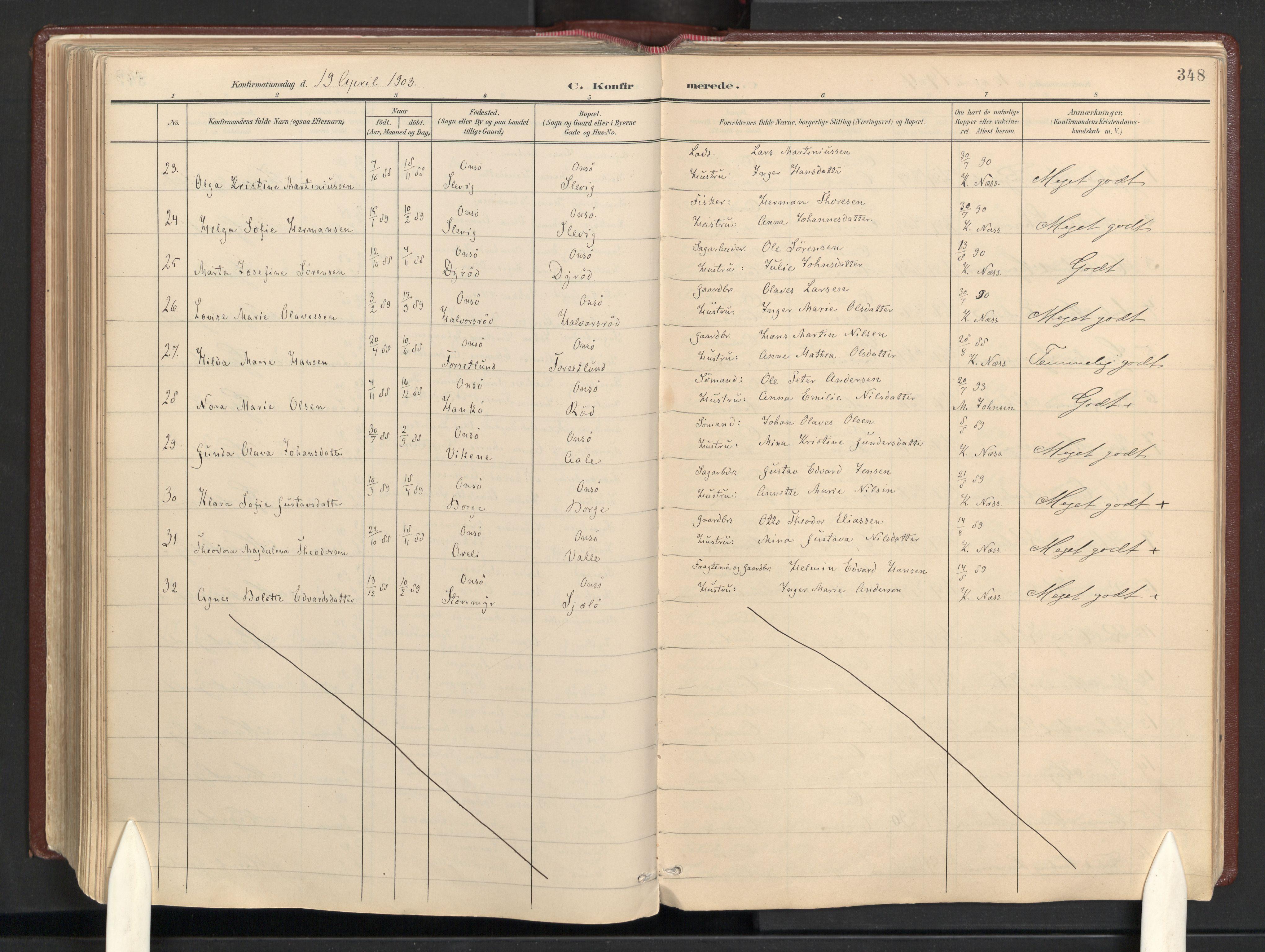 SAO, Onsøy prestekontor Kirkebøker, F/Fb: Parish register (official) no. II 1, 1901-1937, p. 348