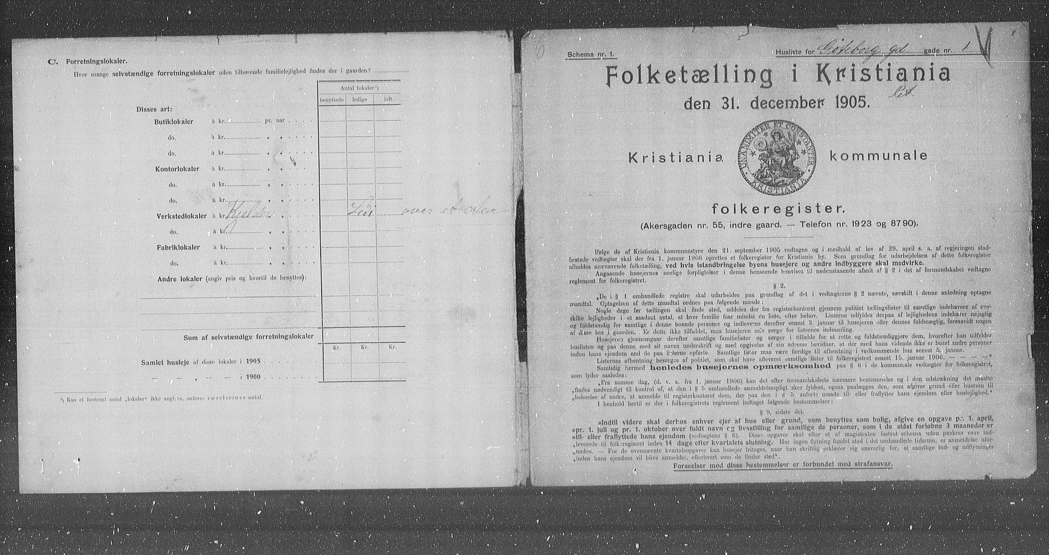 OBA, Municipal Census 1905 for Kristiania, 1905, p. 17191