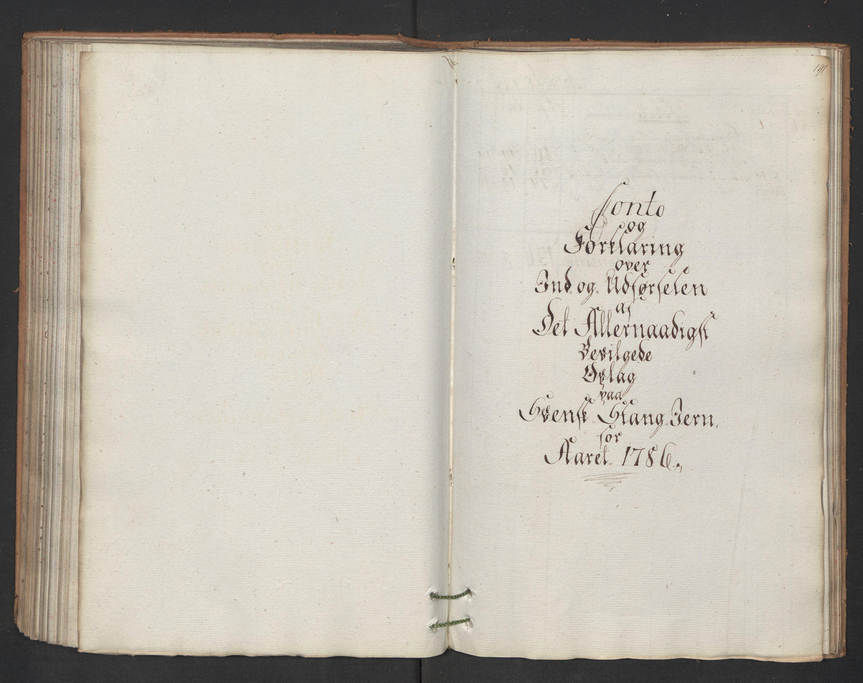 RA, Generaltollkammeret, tollregnskaper, R01/L0131: Tollregnskaper Fredrikshald, 1786, p. 190b-191a