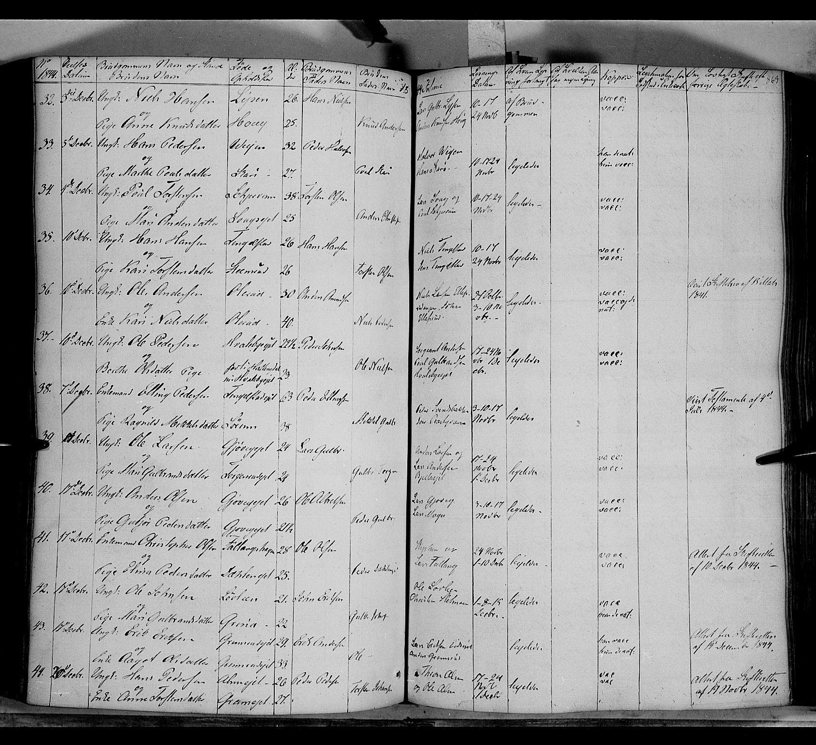 SAH, Gran prestekontor, Parish register (official) no. 11, 1842-1856, p. 862-863