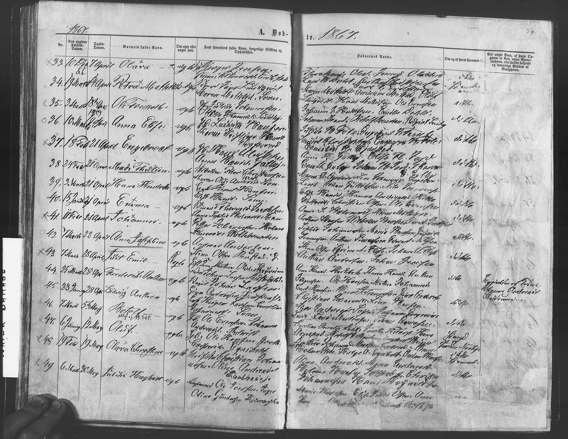 SAO, Vestby prestekontor Kirkebøker, F/Fa/L0008: Parish register (official) no. I 8, 1863-1877, p. 37
