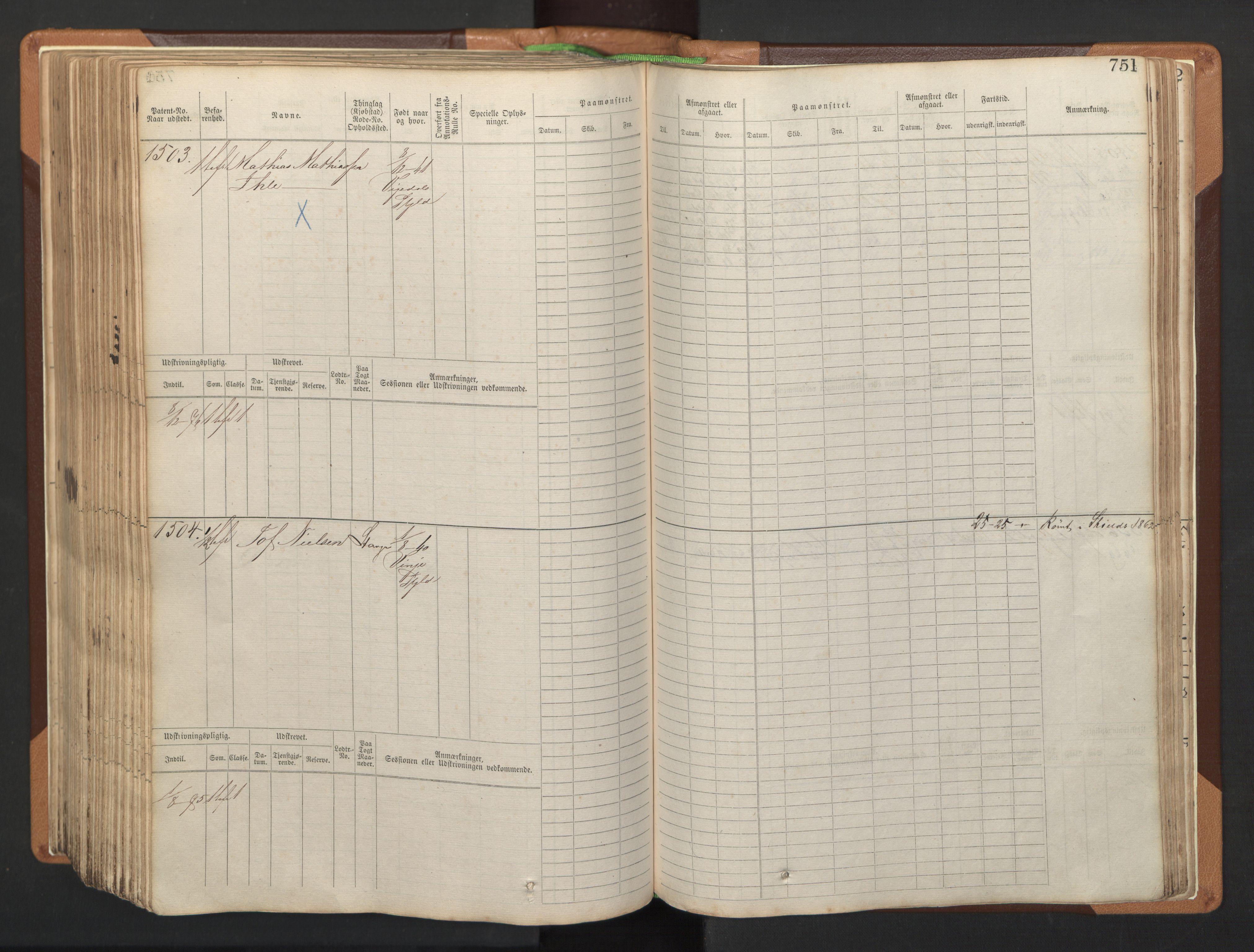 SAST, Stavanger sjømannskontor, F/Fb/Fbb/L0005: Sjøfartshovedrulle, patentnr. 793-1606 (del 2), 1869-1880, p. 363