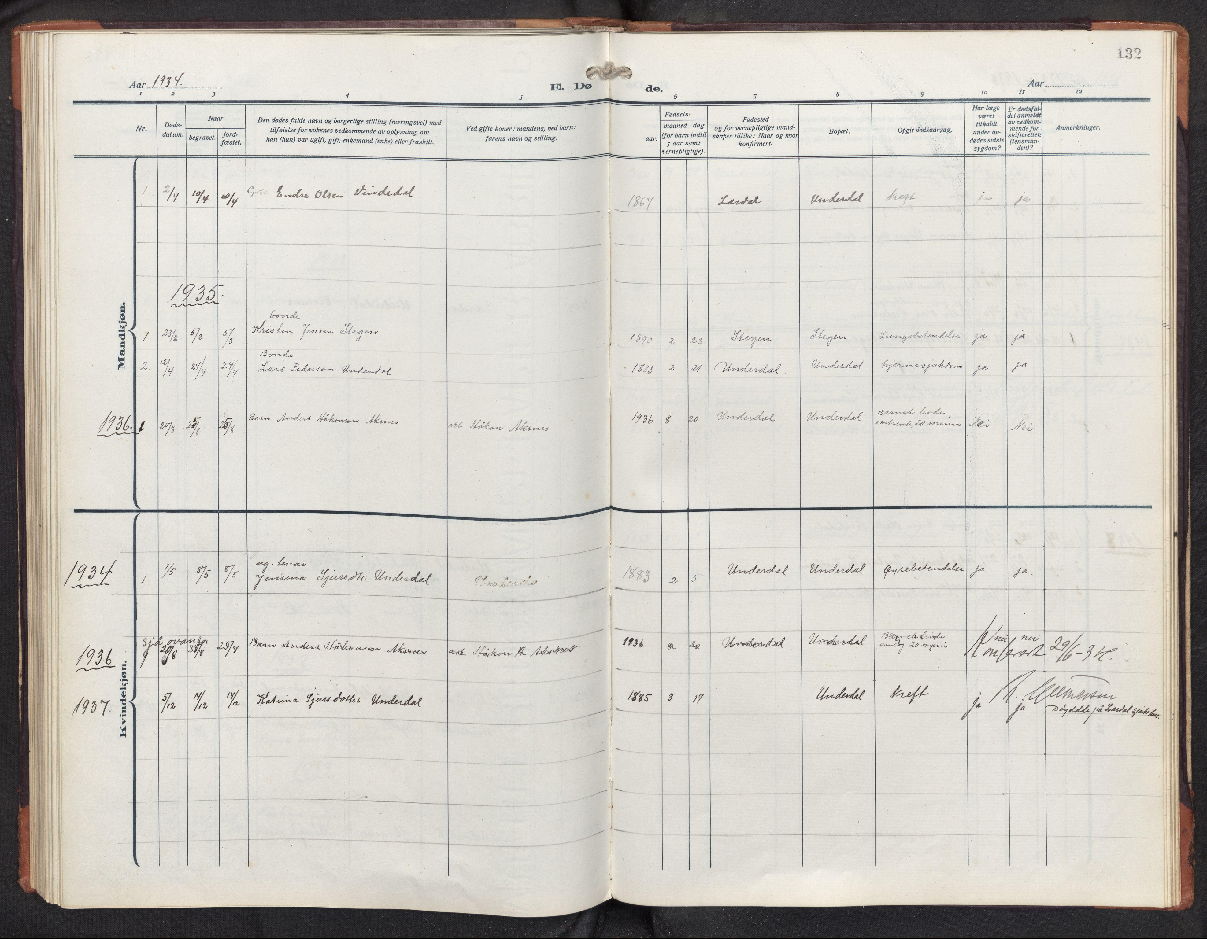SAB, Aurland sokneprestembete, H/Hb/Hbd/L0003: Parish register (copy) no. D 3, 1920-1968, p. 131b-132a