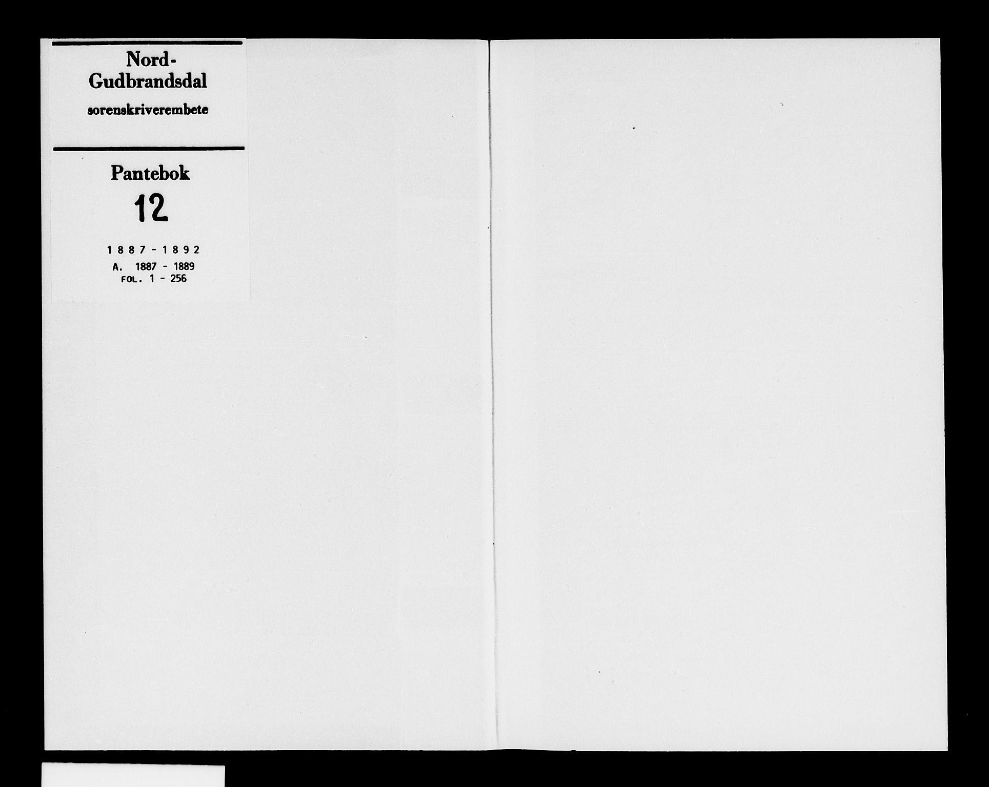 SAH, Nord-Gudbrandsdal tingrett, H/Hb/Hba/L0012: Mortgage book no. 12, 1887-1892
