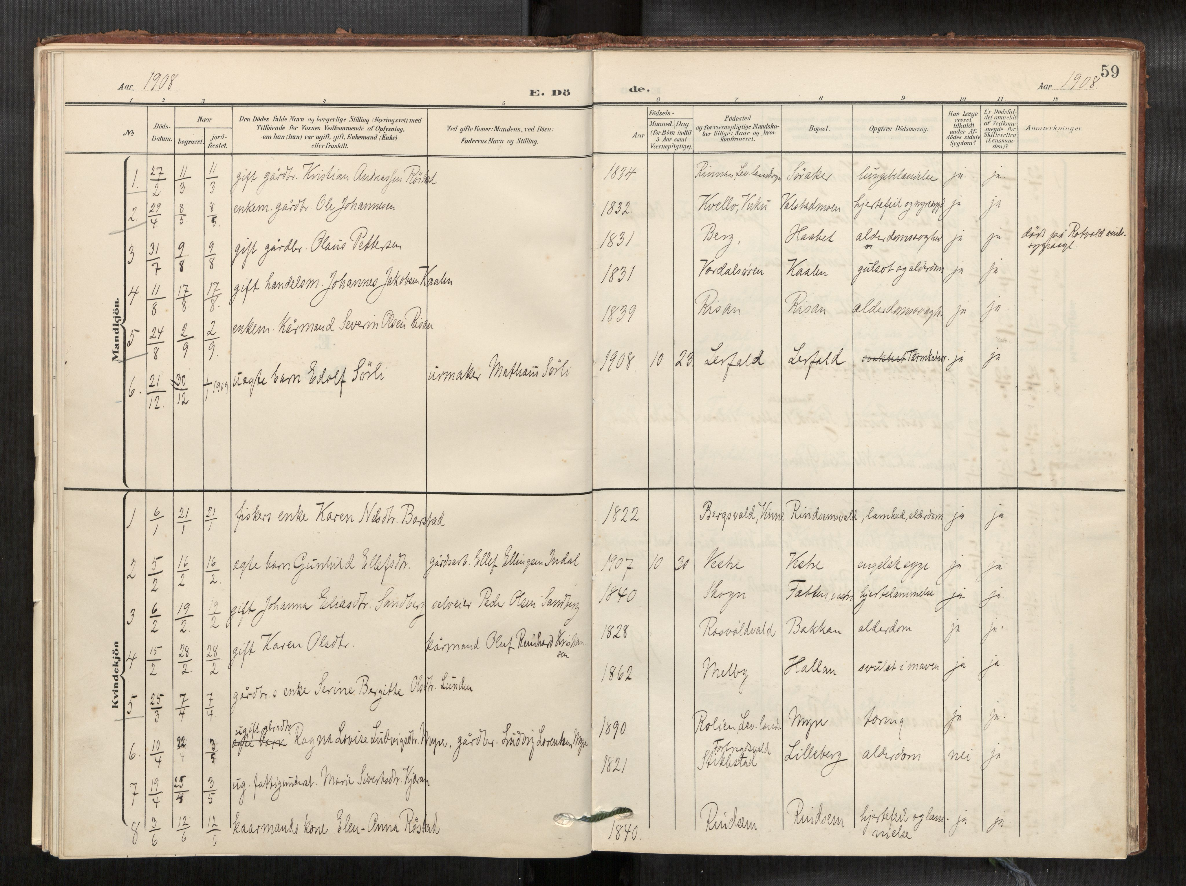 SAT, Verdal sokneprestkontor*, Parish register (official) no. 2, 1907-1921, p. 59