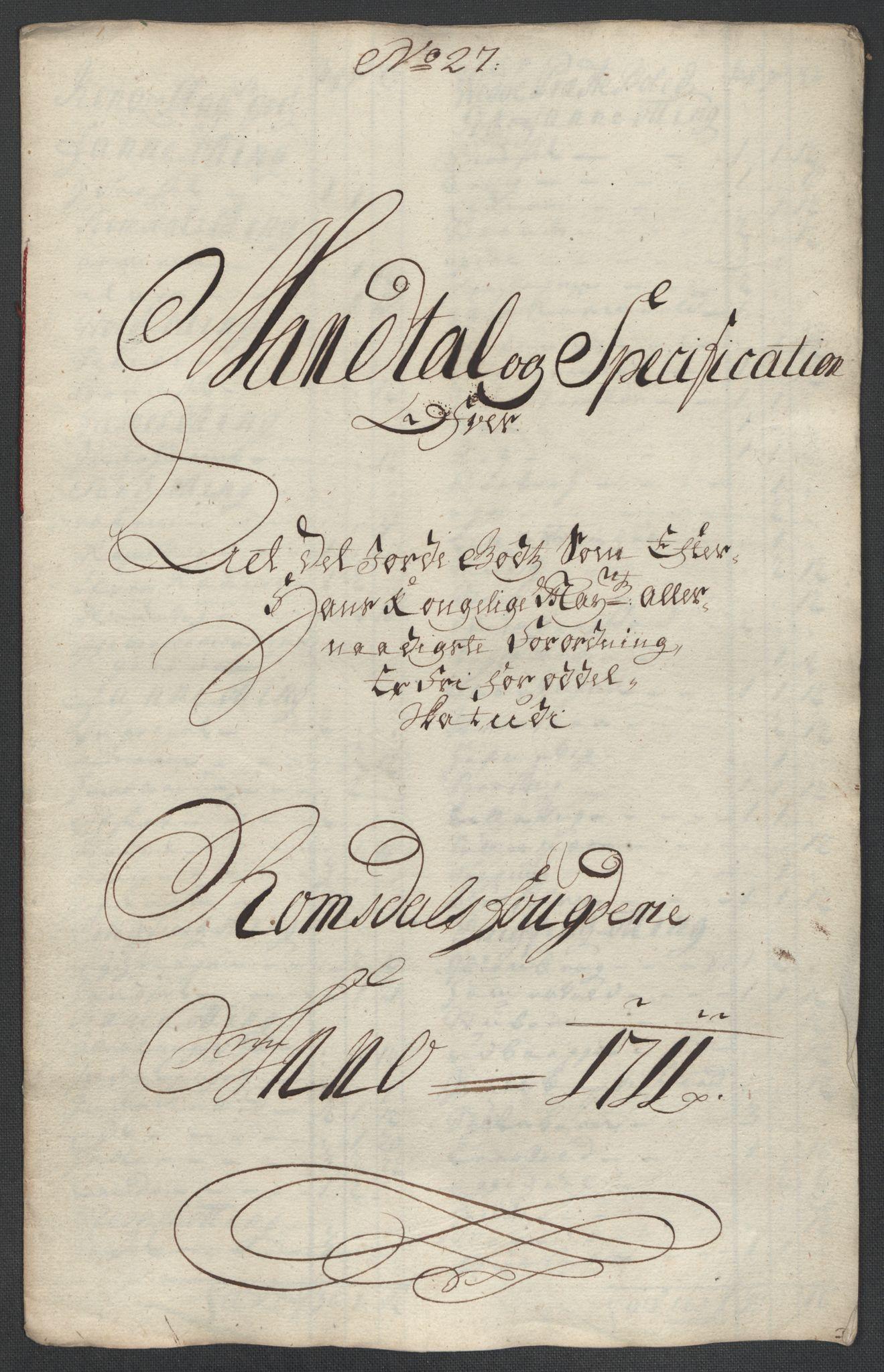 RA, Rentekammeret inntil 1814, Reviderte regnskaper, Fogderegnskap, R55/L3660: Fogderegnskap Romsdal, 1711, p. 414