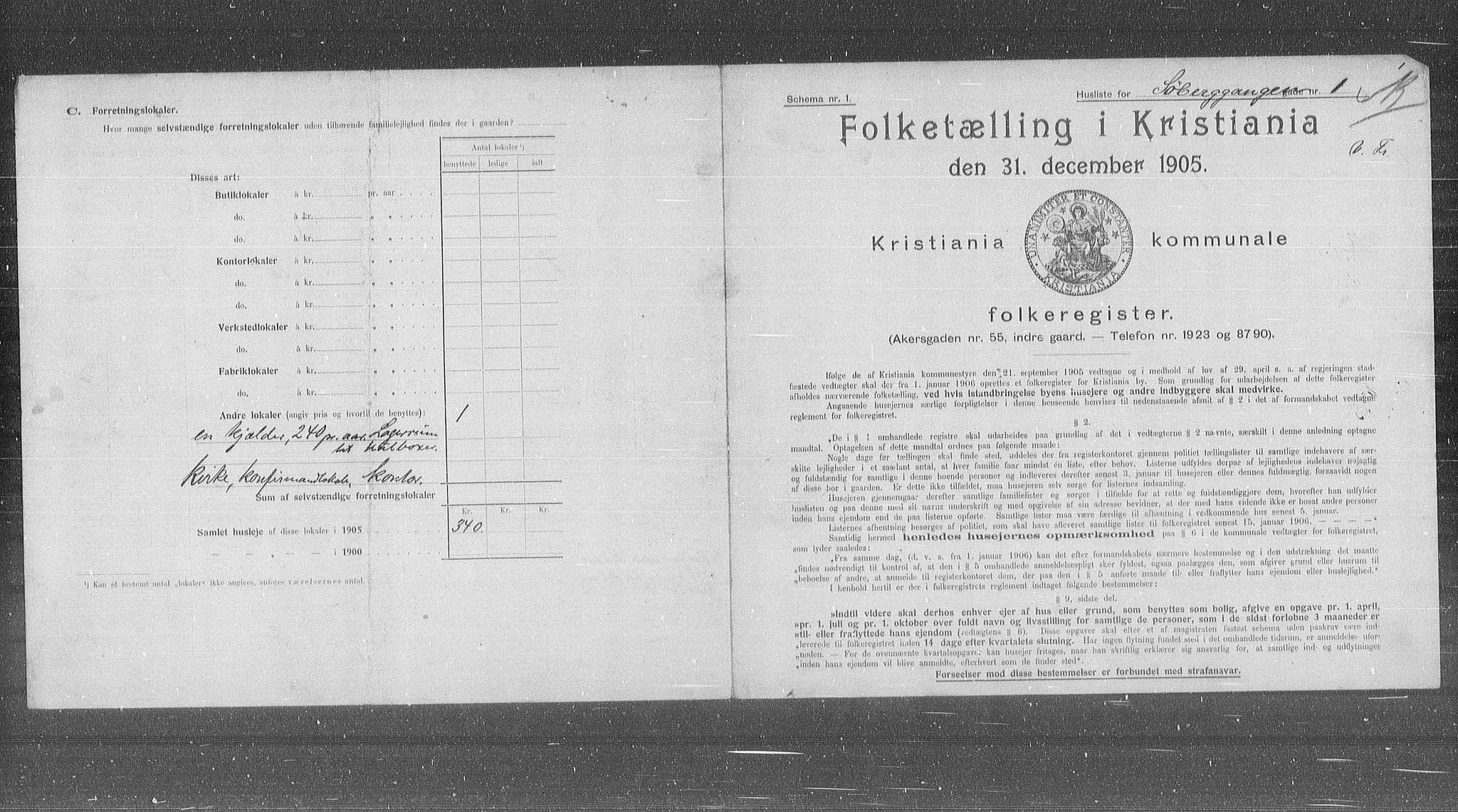 OBA, Municipal Census 1905 for Kristiania, 1905, p. 55522