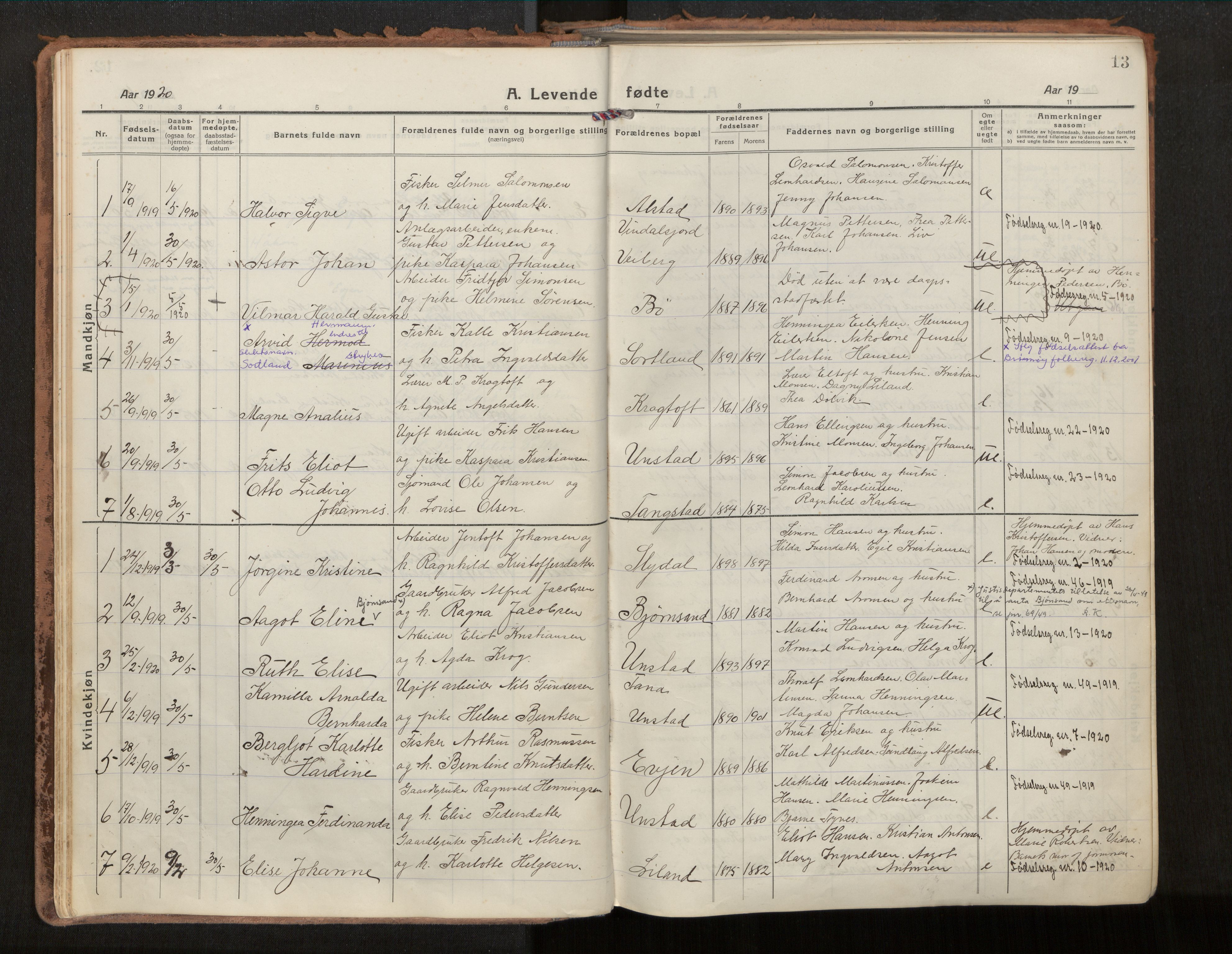 SAT, Ministerialprotokoller, klokkerbøker og fødselsregistre - Nordland, 880/L1136: Parish register (official) no. 880A10, 1919-1927, p. 13