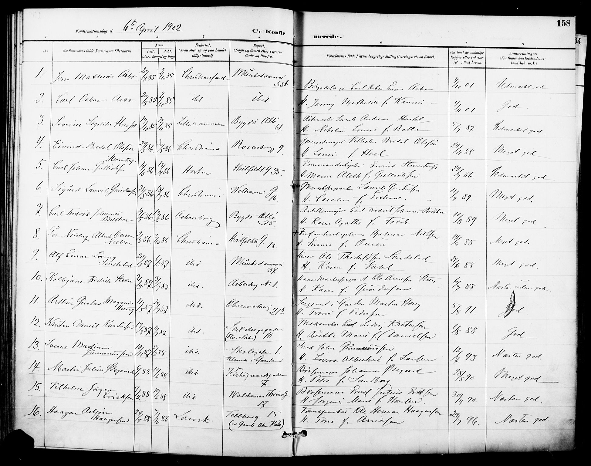 SAO, Garnisonsmenigheten Kirkebøker, F/Fa/L0013: Parish register (official) no. 13, 1894-1904, p. 158