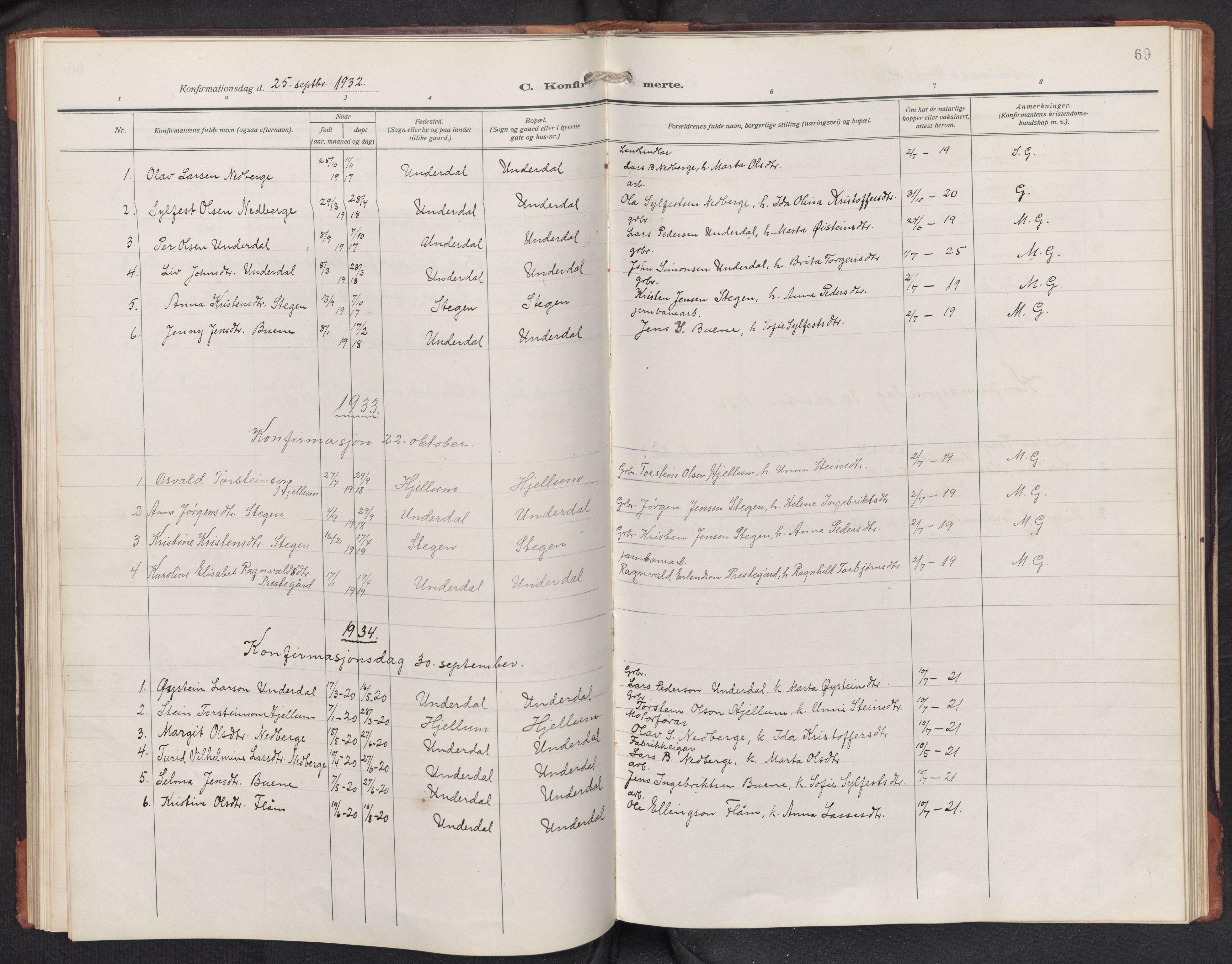 SAB, Aurland sokneprestembete, H/Hb/Hbd/L0003: Parish register (copy) no. D 3, 1920-1968, p. 68b-69a
