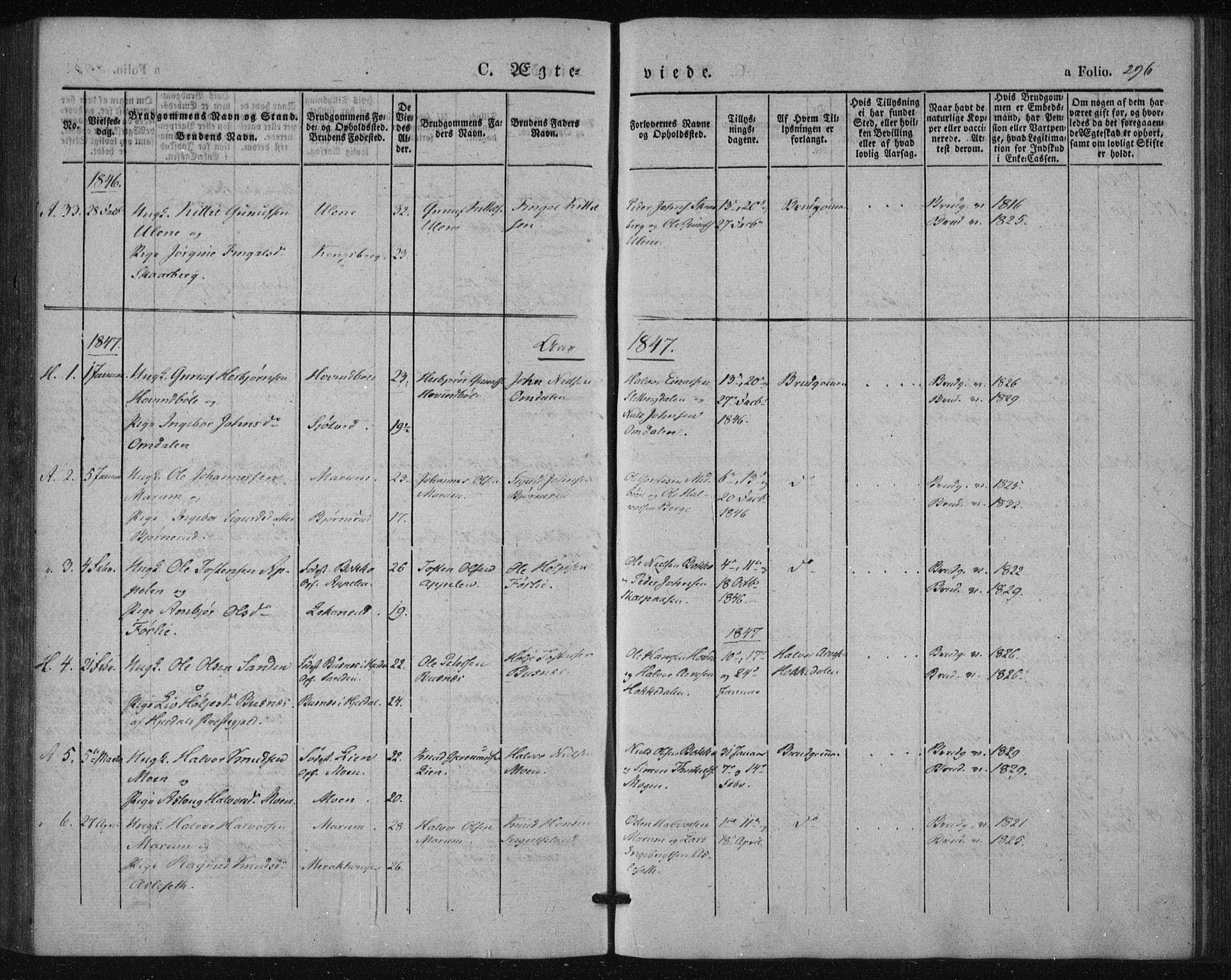 SAKO, Tinn kirkebøker, F/Fa/L0005: Parish register (official) no. I 5, 1844-1856, p. 296